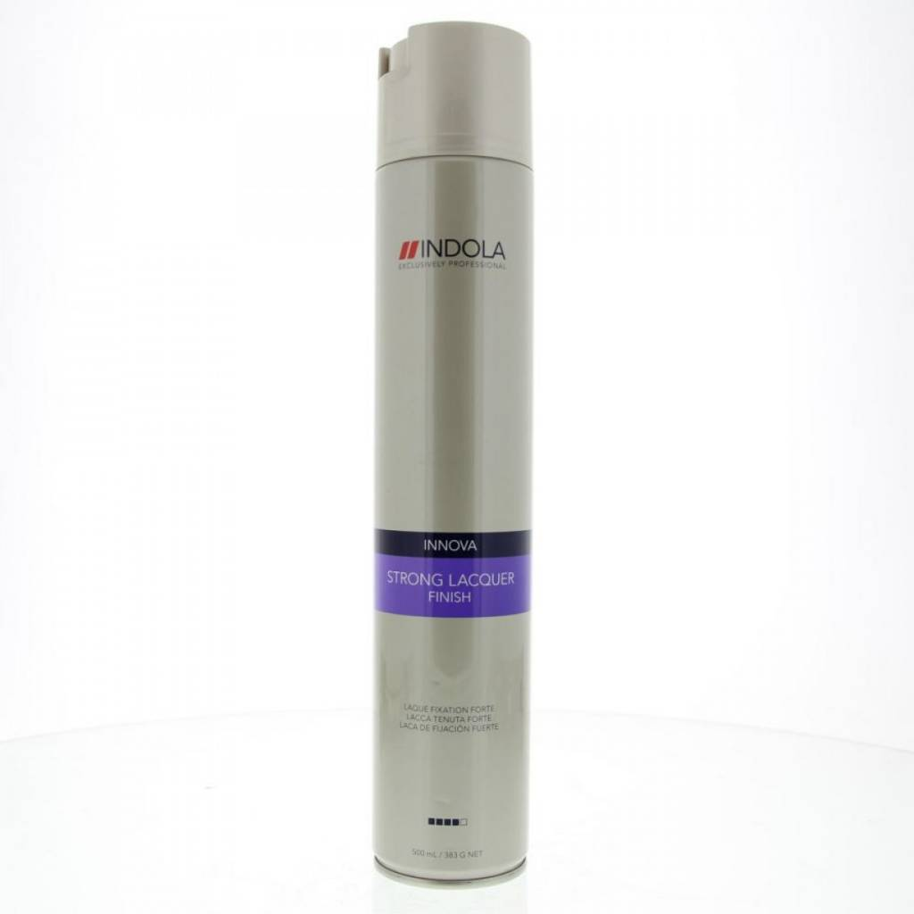 Indola Лак для волос сильной фиксации Innova Finish Strong Laquer - 500 млSatin Hair 7 BR730MNЛак для волос сильной фиксации Индола идеально фиксирует прическу благодаря фильмформерам и специальной технологии микрораспыления. Лак моментально высыхает и легко удаляется с волос при расчесывании, не оставляя белого налета.