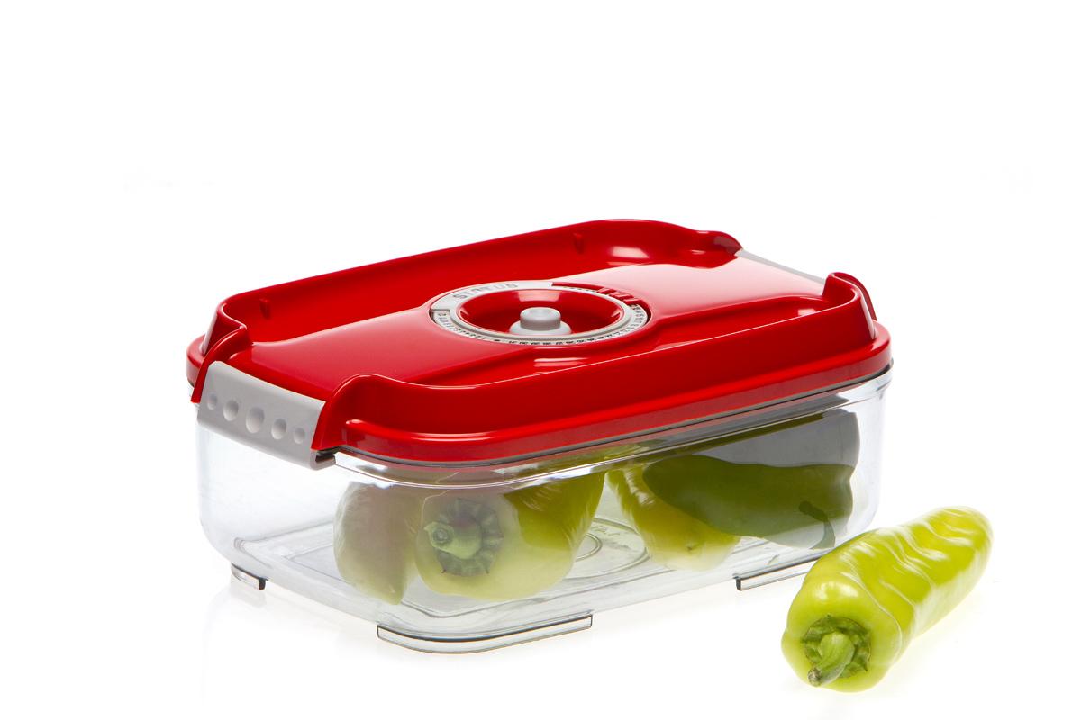 Контейнер вакуумный Status, цвет: прозрачный, красный, 1,4 л4630003364517Вакуумный контейнер Status рекомендован для хранения следующих продуктов: колбасы, сыры, свежее мясо, яйца, фрукты и овощи.Благодаря использованию вакуумных контейнеров, продукты не подвергаются внешнему воздействию и срок хранения значительно увеличивается. Продукты сохраняют свои вкусовые качества и аромат, а запахи в холодильнике не перемешиваются.Контейнер изготовлен из прочного хрустально-прозрачного тритана. На крышке - индикатор даты (месяц, число).Допускается замораживание (до -21 °C), мойка контейнера в посудомоечной машине, разогрев в СВЧ (без крышки).Объем контейнера: 1,4 л.Размер: 22,5 х 15,5 х 8,5 см.