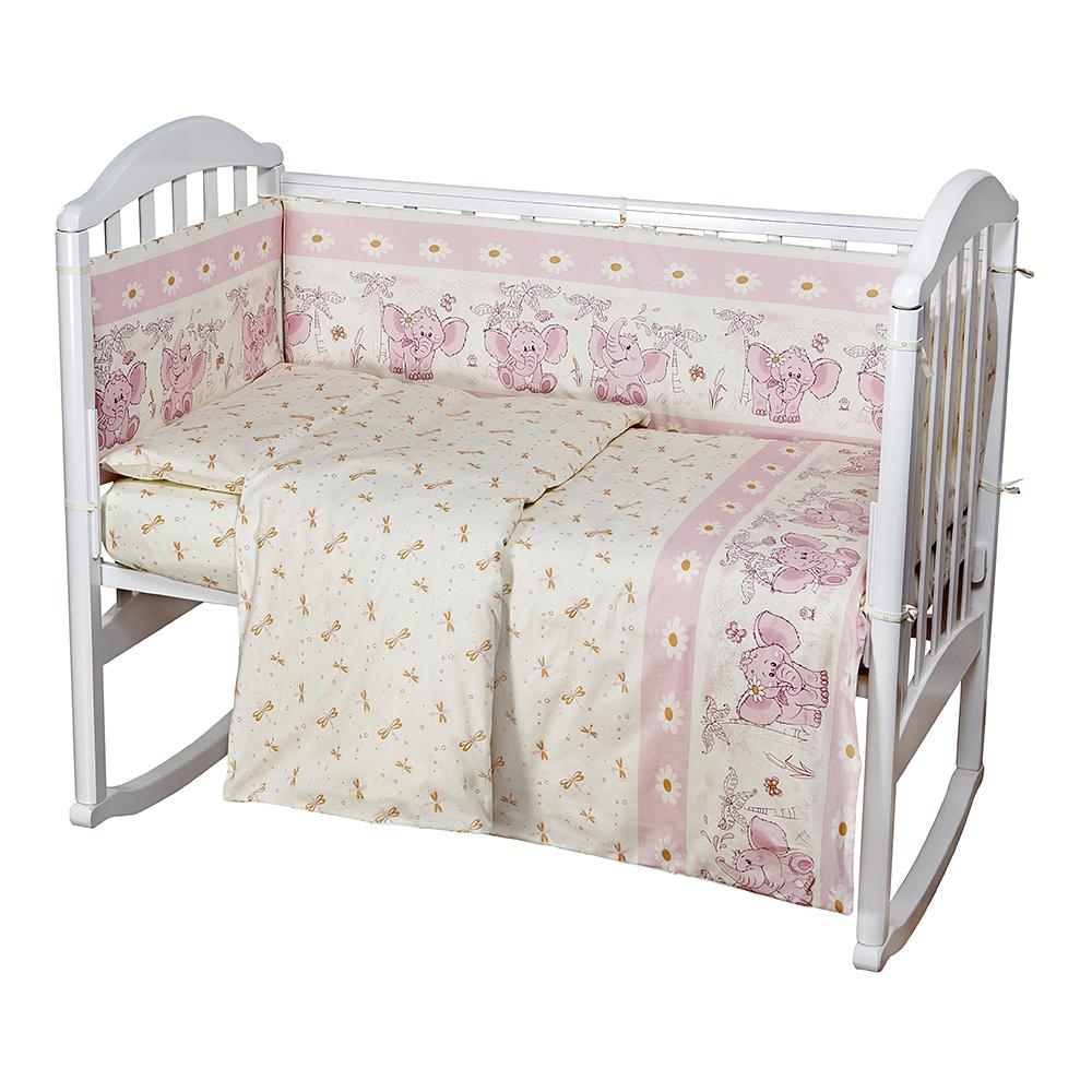 Baby Nice Комплект белья для новорожденных Слоненок цвет розовый5296Постельное бельё Baby Nice, сшито из качественной бязи импортного производства. Бельё не деформируется, цвет не выстирывается.В комплекте: наволочка 40х60, пододеяльник 112х147, простынь на резинке для матраса 60х120.
