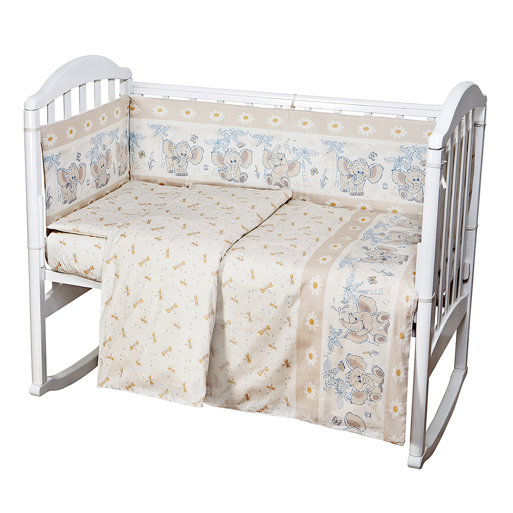 Baby Nice Комплект белья для новорожденных Слоненок цвет бежевыйCLP446Постельное бельё Baby Nice, сшито из качественной бязи импортного производства. Бельё не деформируется, цвет не выстирывается.В комплекте: наволочка 40х60, пододеяльник 112х147, простынь на резинке для матраса 60х120.