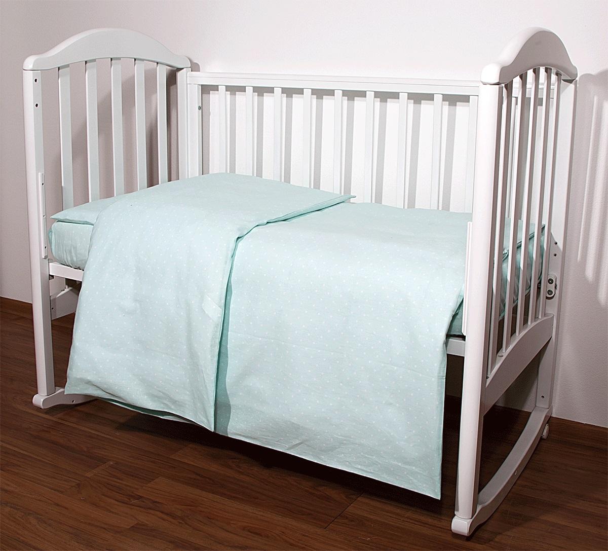 Baby Nice Комплект белья для новорожденных Горох цвет светло-зеленый112825Постельное бельё, сшито из качественной бязи импортного производства.Бельё не деформируется, цвет не выстирывается.наволочка 40х60, пододеяльник 112х147,простынь 60х120