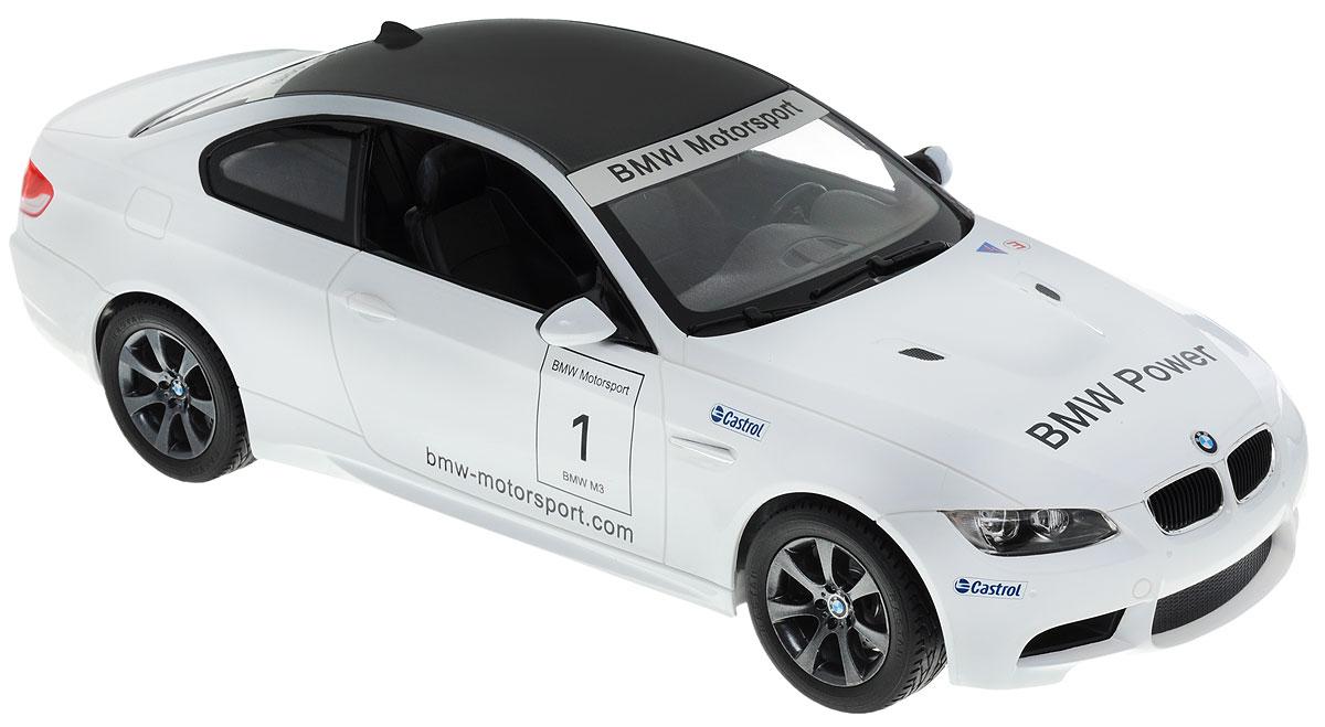 """Радиоуправляемая модель Rastar """"BMW M3"""" станет отличным подарком любому мальчику! Все дети хотят иметь в наборе своих игрушек ослепительные, невероятные и крутые автомобили на радиоуправлении. Тем более, если это автомобиль известной марки с проработкой всех деталей, удивляющий приятным качеством и видом. Одной из таких моделей является автомобиль на радиоуправлении Rastar """"BMW M3"""". Это точная копия настоящего авто в масштабе 1:14. Авто обладает неповторимым провокационным стилем и спортивным характером. А серьезные габариты придают реалистичность в управлении. Автомобиль отличается потрясающей маневренностью, динамикой и покладистостью. Возможные движения: вперед, назад, вправо, влево, остановка. Имеются световые эффекты. Пульт управления работает на частоте 27 MHz. Для работы игрушки необходимы 5 батареек типа АА (не входят в комплект). Для работы пульта управления необходима 1 батарейка 9V (6F22) (не входит в комплект)."""