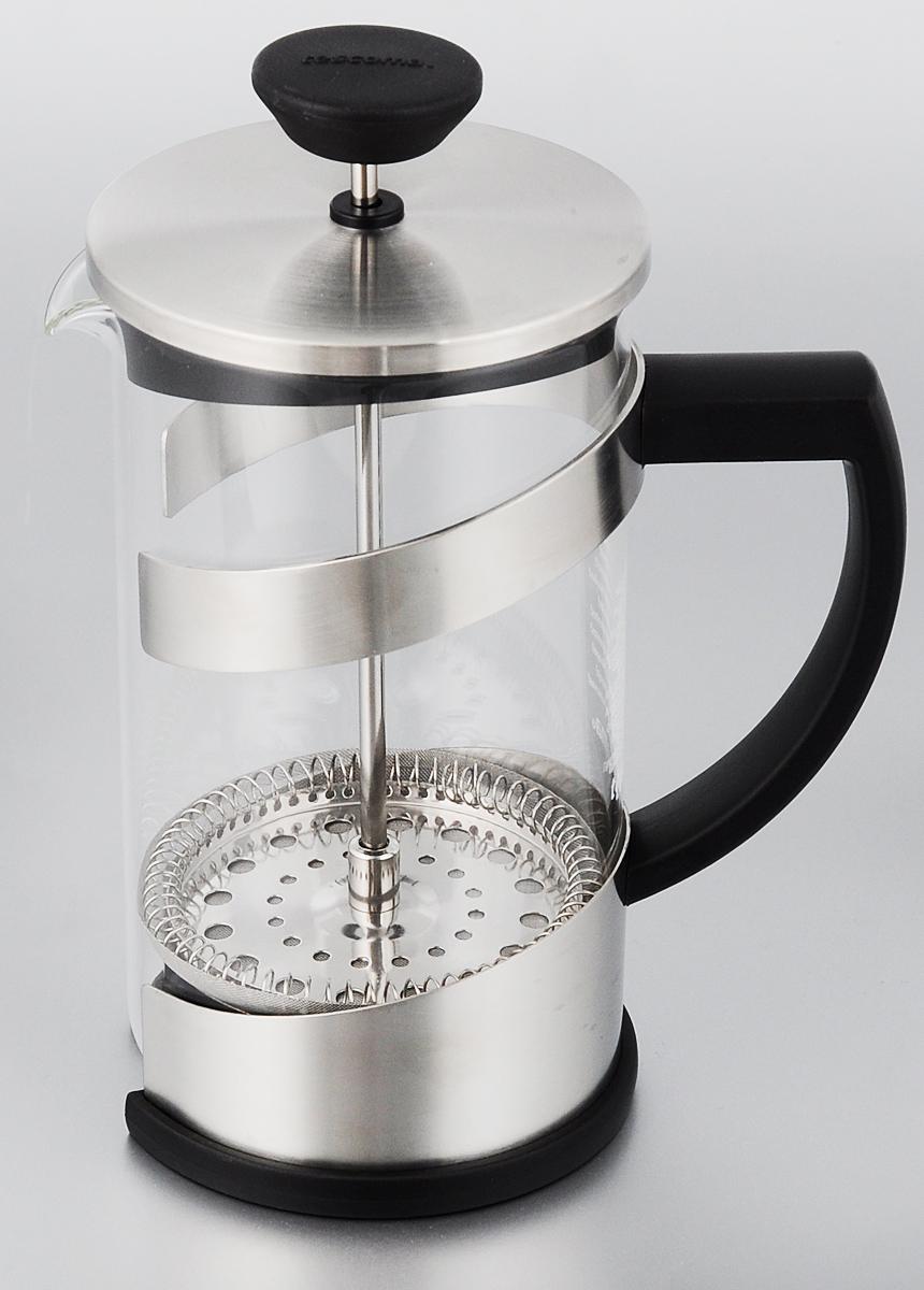 Френч-пресс Tescoma Teo, 600 мл115510Френч-пресс Tescoma Teo, изготовленный из огнеупорного стекла, первоклассной нержавеющей стали и стойкого пластика, используется для приготовления чая или кофе. Фильтр-поршень оснащен ситечком для обеспечения равномерной циркуляции воды. Засыпая чайную заварку или кофе под фильтр, заливая горячей водой, вы получаете ароматный напиток с оптимальной крепостью и насыщенностью. Остановить процесс заваривания легко, для этого нужно просто опустить поршень, и все уйдет вниз, оставляя вверху напиток, готовый к употреблению. Такой френч-пресс позволит быстро и просто приготовить свежий и ароматный кофе или чай. Диаметр колбы (по верхнему краю): 8,5 см. Высота френч-пресса (без учета крышки): 15,5 см.