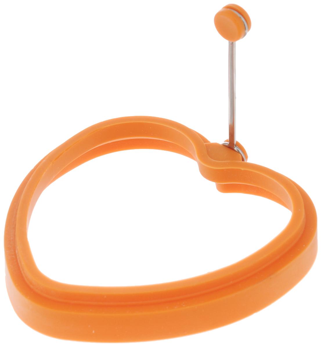 Форма для яичницы Mayer & Boch Сердце, цвет: оранжевый94672Форма Mayer & Boch Сердце выполнена из силикона и предназначена для приготовления яичницы, выпекания блинов необычной формы и многого другого. Необходимо просто залить приготавливаемую массу внутрь формочки, расположенной на сковородке, и подождать, пока блюдо не дойдет до нужной кондиции.Форма оснащена металлической ручкой с силиконовой вставкой, что облегчит снятие изделия со сковороды и предотвратит появление ожогов. Благодаря такой формочке, вы привнесете немного оригинальности и разнообразия в свой повседневный завтрак.Можно мыть в посудомоечной машине.Размер формы: 11,5 х 11,5 х 2 см.Длина ручки: 8 см.