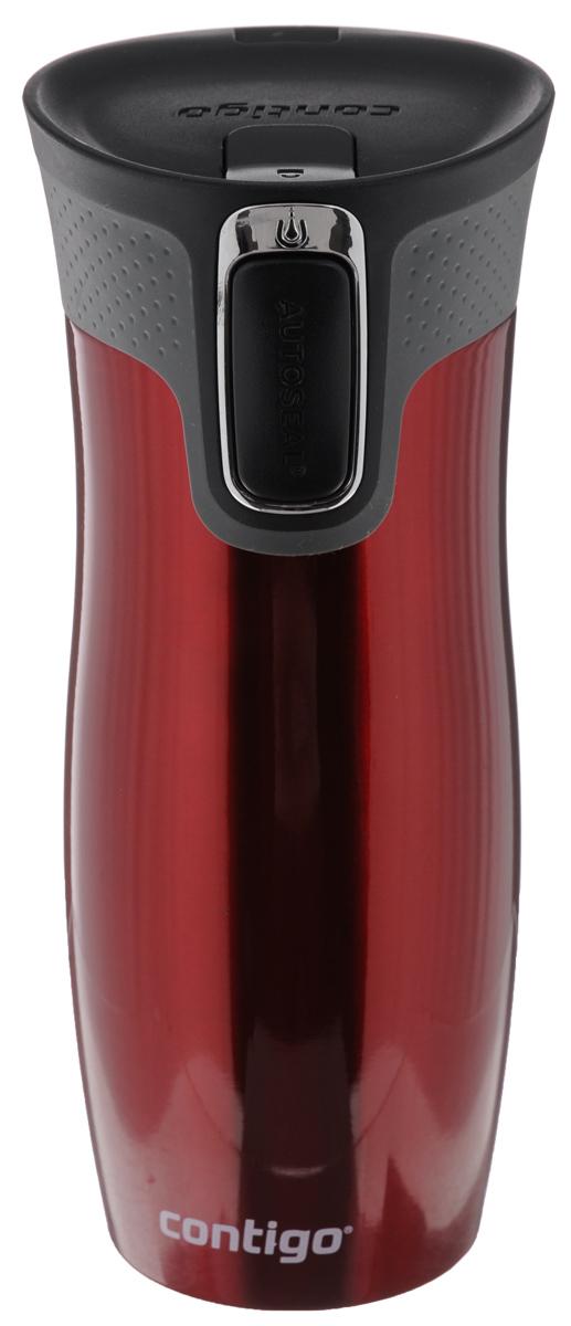 Термокружка Contigo West Loop, цвет: красный, черный, серый, 470 мл115010Термокружка Contigo West Loop, изготовленная из высококачественной нержавеющей стали и пищевого пластика, подходит как для холодных, так и для горячих напитков. Изделие оснащено крышкой с открывающимся клапаном, который предохранит от проливания. Диаметр (по верхнему краю): 6,5 см. Высота кружки (с учетом крышки): 20 см.