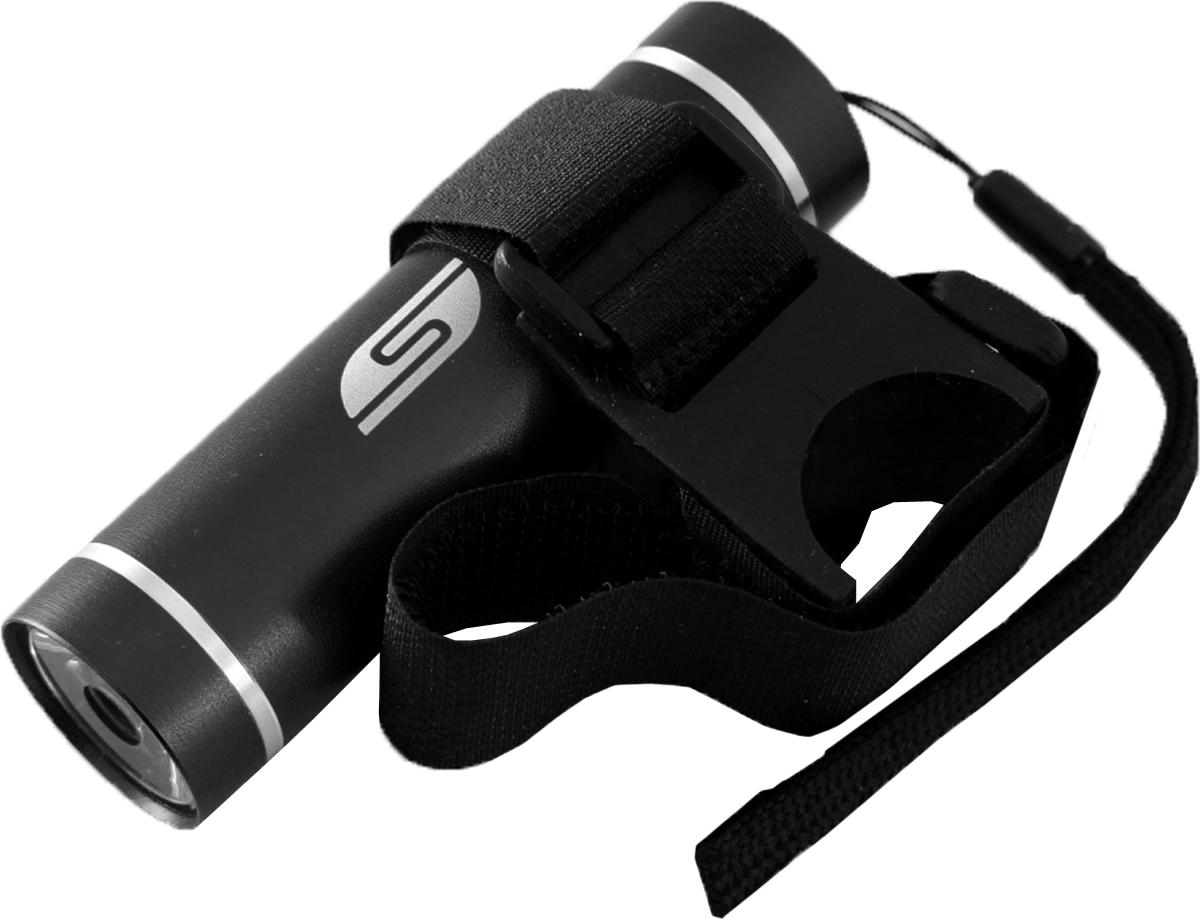 Фонарь велосипедный SolarisT-5V, передний, цвет: черный3109blackВелосипедный фонарь, выполненный из качественно алюминия с защитным анодированием корпуса, можно использовать также в качестве карманного фонаря. Фонарь снабжен современным светодиодом мощностью 1 Ватт. Мощность светового потока 60 люмен, дальность эффективного излучения света 100 метров. В комплект фонаря входит универсальное вело крепление. Благодаря расширенной комплектации фонарь имеет различные назначения: - Велосипедный фонарь. Закрепите фонарь на руле велосипеда при помощи универсального велокрепления. Корпус велокрепления выполнен из плотной резины и снабжён нейлоновыми лентами с липучками и пряжками.Благодаря этому велокрепление подходит практически для любого диаметра руля велосипеда. Плотная резиновая основа крепления обеспечивает очень надёжное прилегание к любой поверхности. Велокрепление устанавливается и снимается за считанные секунды. - Карманный фонарь. Благодаря длине всего 9 сантиметров и малому весу фонарь идеально подходит для ежедневного ношения в качестве карманного. Кнопка включения в хвостовой части фонаря утоплена в корпус, что исключает случайное нажатие в кармане. Коллиматорная линза направленного действия и светодиод мощностью 1 Ватт обеспечивают фонарю очень приличную дальность освещения 100 метров. Фонарь может применяться в качестве запасного туристического фонаря и источника света для бытовых нужд. Особенности конструкции и эксплуатации фонаря SOLARIS T-5V: - Один режим работы фонаря. - Кнопка включения расположена в хвостовой части фонаря. - Фонарь работает от 3-х батарей ААА (в комплект не входят).Кассета для батареек прилагается, находится внутри фонаря. - Время работы фонаря от 3-х батарей ААА: 5 часов. - Резиновое уплотнение в хвостовике фонаря.