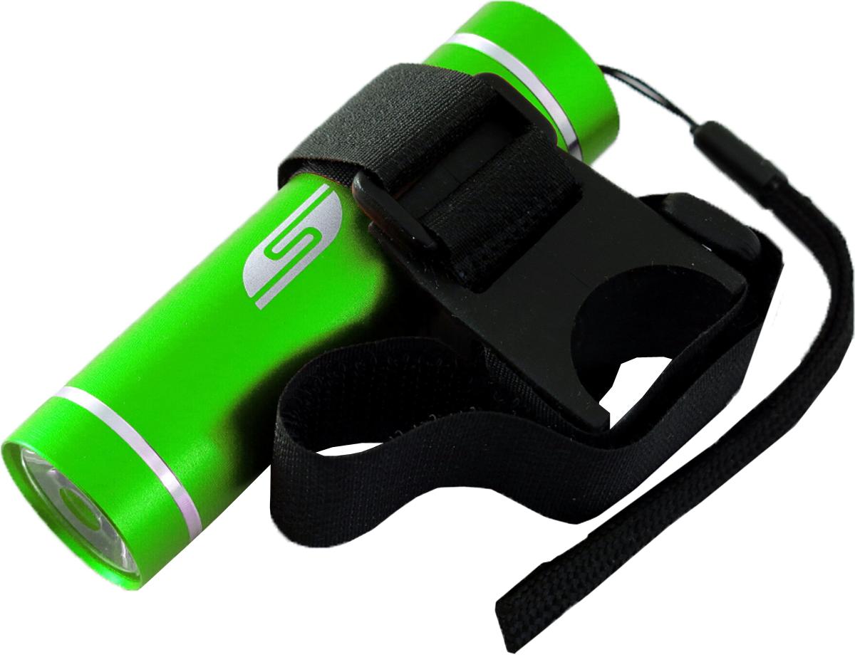 Фонарь велосипедный SolarisT-5V, передний, цвет: зеленый, черныйMW-1462-01-SR серебристыйВелосипедный фонарь, выполненный из качественно алюминия с защитным анодированием корпуса, можно использовать также в качестве карманного фонаря. Фонарь снабжен современным светодиодом мощностью 1 Ватт. Мощность светового потока 60 люмен, дальность эффективного излучения света 100 метров. В комплект фонаря входит универсальное вело крепление. Благодаря расширенной комплектации фонарь имеет различные назначения: - Велосипедный фонарь. Закрепите фонарь на руле велосипеда при помощи универсального велокрепления. Корпус велокрепления выполнен из плотной резины и снабжён нейлоновыми лентами с липучками и пряжками.Благодаря этому велокрепление подходит практически для любого диаметра руля велосипеда. Плотная резиновая основа крепления обеспечивает очень надёжное прилегание к любой поверхности. Велокрепление устанавливается и снимается за считанные секунды. - Карманный фонарь. Благодаря длине всего 9 сантиметров и малому весу фонарь идеально подходит для ежедневного ношения в качестве карманного. Кнопка включения в хвостовой части фонаря утоплена в корпус, что исключает случайное нажатие в кармане. Коллиматорная линза направленного действия и светодиод мощностью 1 Ватт обеспечивают фонарю очень приличную дальность освещения 100 метров. Фонарь может применяться в качестве запасного туристического фонаря и источника света для бытовых нужд. Особенности конструкции и эксплуатации фонаря SOLARIS T-5V: - Один режим работы фонаря. - Кнопка включения расположена в хвостовой части фонаря. - Фонарь работает от 3-х батарей ААА (в комплект не входят).Кассета для батареек прилагается, находится внутри фонаря. - Время работы фонаря от 3-х батарей ААА: 5 часов. - Резиновое уплотнение в хвостовике фонаря.