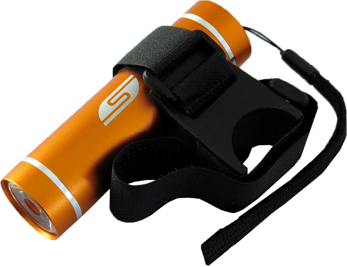 Фонарь велосипедный SolarisT-5V, передний, цвет: оранжевый, черный7292Велосипедный фонарь, выполненный из качественно алюминия с защитным анодированием корпуса, можно использовать также в качестве карманного фонаря. Фонарь снабжен современным светодиодом мощностью 1 Ватт. Мощность светового потока 60 люмен, дальность эффективного излучения света 100 метров. В комплект фонаря входит универсальное вело крепление. Благодаря расширенной комплектации фонарь имеет различные назначения: - Велосипедный фонарь. Закрепите фонарь на руле велосипеда при помощи универсального велокрепления. Корпус велокрепления выполнен из плотной резины и снабжён нейлоновыми лентами с липучками и пряжками.Благодаря этому велокрепление подходит практически для любого диаметра руля велосипеда. Плотная резиновая основа крепления обеспечивает очень надёжное прилегание к любой поверхности. Велокрепление устанавливается и снимается за считанные секунды. - Карманный фонарь. Благодаря длине всего 9 сантиметров и малому весу фонарь идеально подходит для ежедневного ношения в качестве карманного. Кнопка включения в хвостовой части фонаря утоплена в корпус, что исключает случайное нажатие в кармане. Коллиматорная линза направленного действия и светодиод мощностью 1 Ватт обеспечивают фонарю очень приличную дальность освещения 100 метров. Фонарь может применяться в качестве запасного туристического фонаря и источника света для бытовых нужд. Особенности конструкции и эксплуатации фонаря SOLARIS T-5V: - Один режим работы фонаря. - Кнопка включения расположена в хвостовой части фонаря. - Фонарь работает от 3-х батарей ААА (в комплект не входят).Кассета для батареек прилагается, находится внутри фонаря. - Время работы фонаря от 3-х батарей ААА: 5 часов. - Резиновое уплотнение в хвостовике фонаря.
