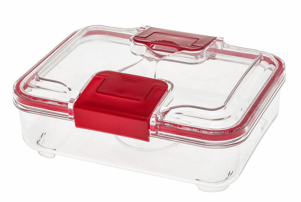 Контейнер Status RC075, цвет: прозрачный, красный, 0,75 лС81011Вакуумный контейнер Status RC075 изготовлен из прочного хрустально-прозрачного тритана, рекомендован для хранения следующих продуктов: фрукты, овощи, хлеб, колбасы, сыры, сладости, соусы, супы.Благодаря использованию вакуумных контейнеров, продукты не подвергаются внешнему воздействию и срок хранения значительно увеличивается. Продукты сохраняют свои вкусовые качества и аромат, а запахи в холодильнике не перемешиваются.Допускается замораживание (до -21 °C), мойка контейнера в посудомоечной машине, разогрев в СВЧ (без крышки).Объем контейнера: 0,75 л.Размер: 18,5 х 15 х 7 см.