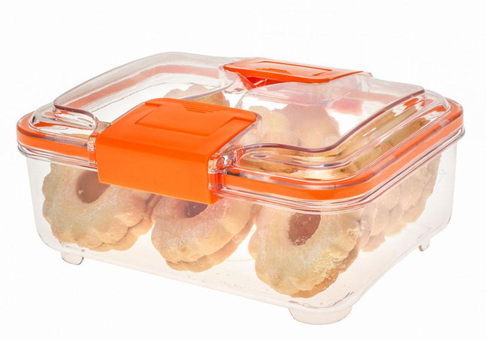 Контейнер Status RC10, цвет: прозрачный, оранжевый, 1 л81028Вакуумный контейнер Status RC10 изготовлен из прочного хрустально-прозрачного тритана, рекомендован для хранения следующих продуктов: фрукты, овощи, хлеб, колбасы, сыры, сладости, соусы, супы.Благодаря использованию вакуумных контейнеров, продукты не подвергаются внешнему воздействию и срок хранения значительно увеличивается. Продукты сохраняют свои вкусовые качества и аромат, а запахи в холодильнике не перемешиваются.Допускается замораживание (до -21 °C), мойка контейнера в посудомоечной машине, разогрев в СВЧ (без крышки).Объем контейнера: 1 л.Размер: 18,5 х 15 х 8 см.