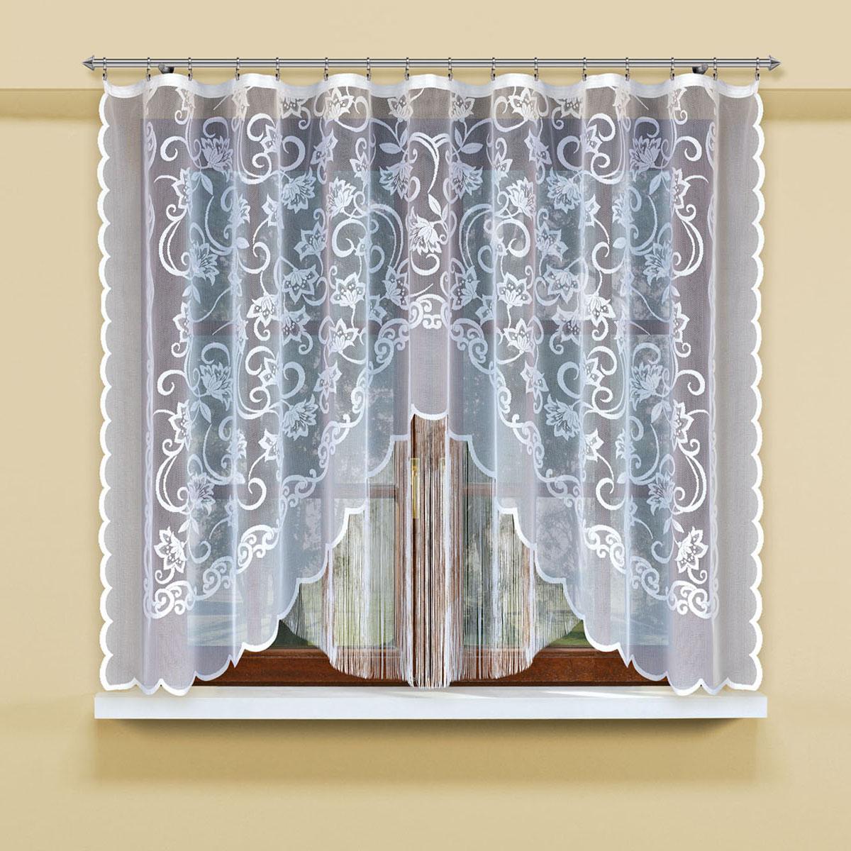 Гардина Haft, на ленте, цвет: белый, высота 160 см. 2070909925Гардина Haft, изготовленная из полиэстера, станет великолепным украшением любого окна. Тонкое плетение и оригинальный дизайн привлекут к себе внимание. Изделие органично впишется в интерьер. Гардина крепится на карниз при помощи ленты, которая поможет красиво и равномерно задрапировать верх.