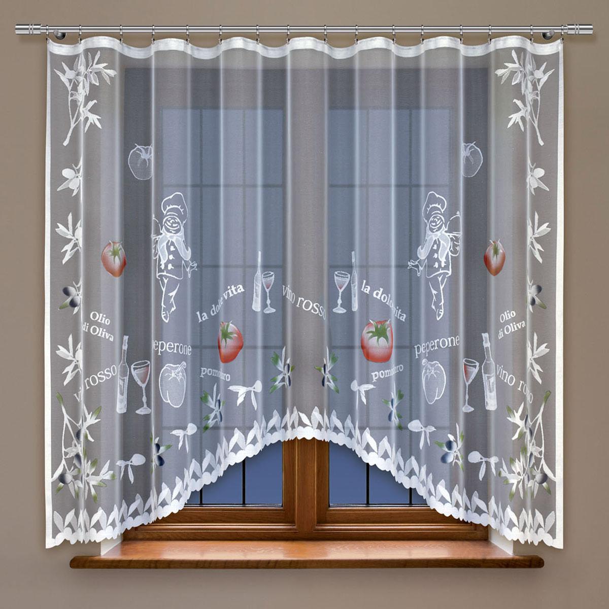Гардина Haft, цвет: белый, ширина 300 см, высота 160 см. 214200/160SVC-300Жаккардовая гардина-арка в кухню белого цвета Размеры: высота 160см * ширина 300см