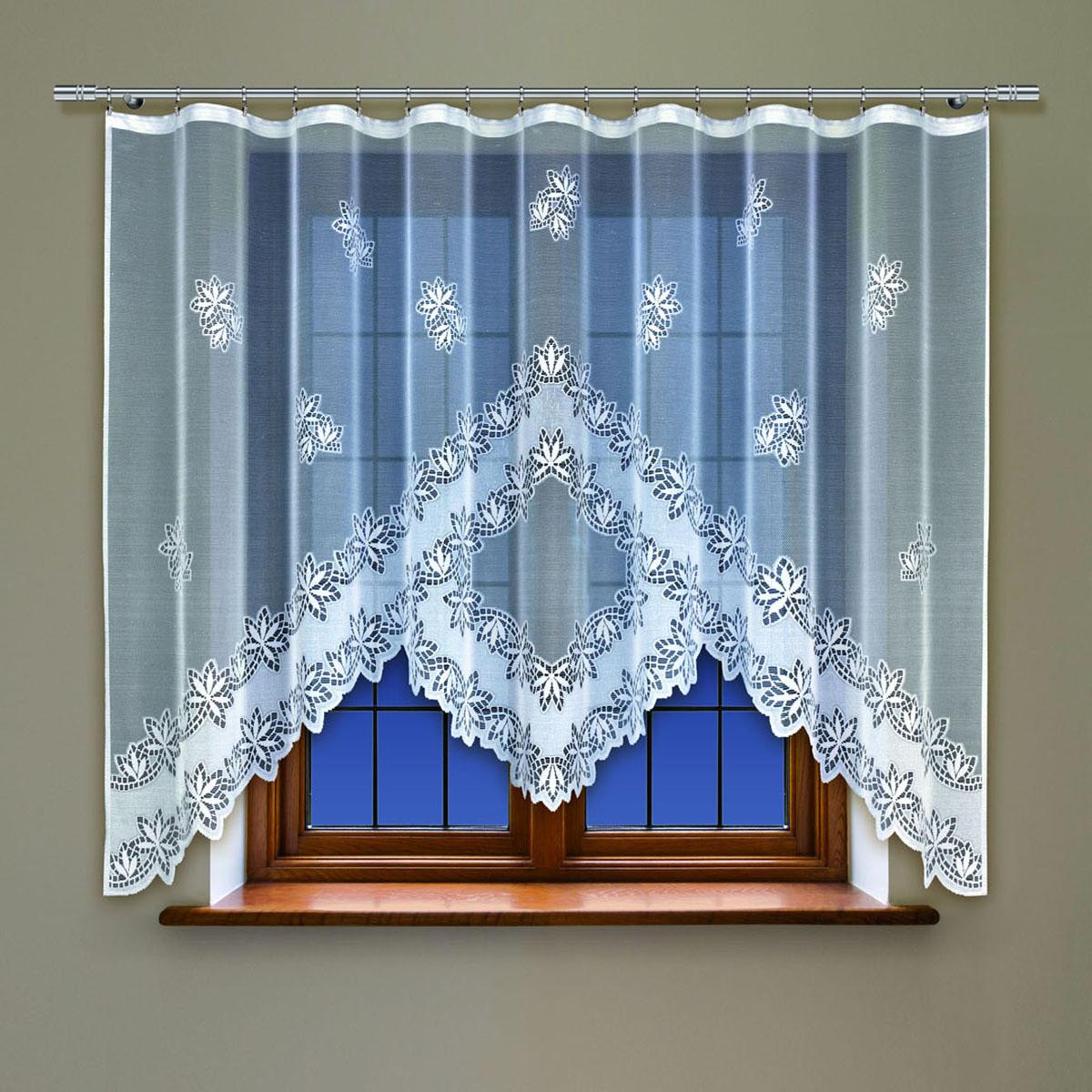 Гардина Haft, цвет: белый, ширина 300 см, высота 160 см. 214360/16004274-ШП-ГБ-013Жаккардовая гардина в кухню белого цветаРазмеры: высота 160см * ширина 300см