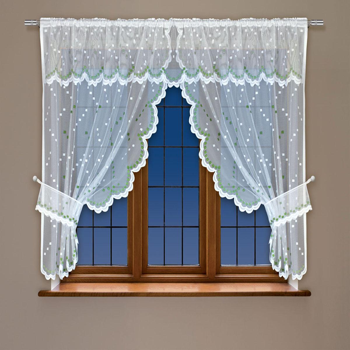 Гардина Haft, на кулиске, цвет: белый, зеленый, высота 107 см. 228410S03301004Воздушная гардина Haft, выполненная из полиэстера, великолепно украсит любое окно.Изделие имеет оригинальный дизайн и органично впишется в интерьер помещения.Гардина крепится на карниз при помощи кулиски.