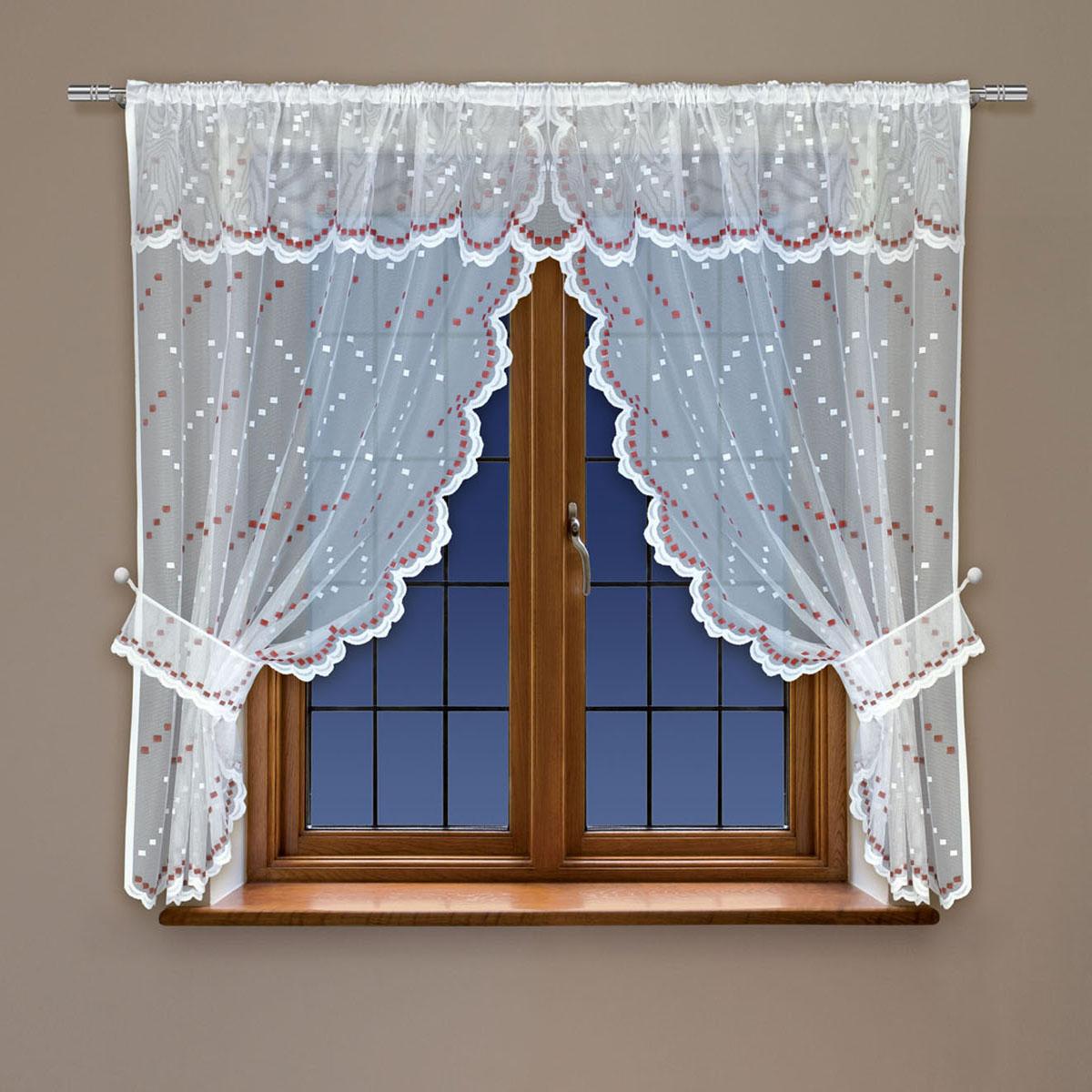 Гардина Haft, на кулиске, цвет: белый, красный, высота 115 см. 22841088872Воздушная гардина Haft, выполненная из полиэстера, великолепно украсит любое окно.Изделие имеет оригинальный дизайн и органично впишется в интерьер помещения.Гардина крепится на карниз при помощи кулиски.