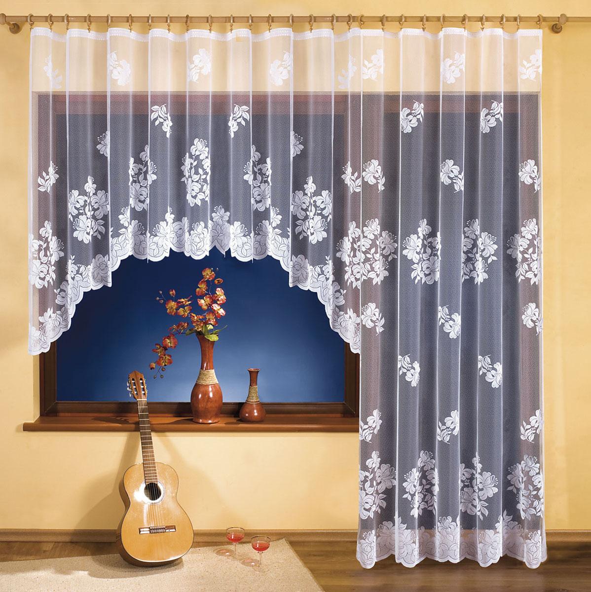 Комплект штор Wisan, цвет: белый, высота 250 смБ142Комплект гардин для окна с балконной дверью, крепление зажимы для штор.Размеры: 300*150+250*150