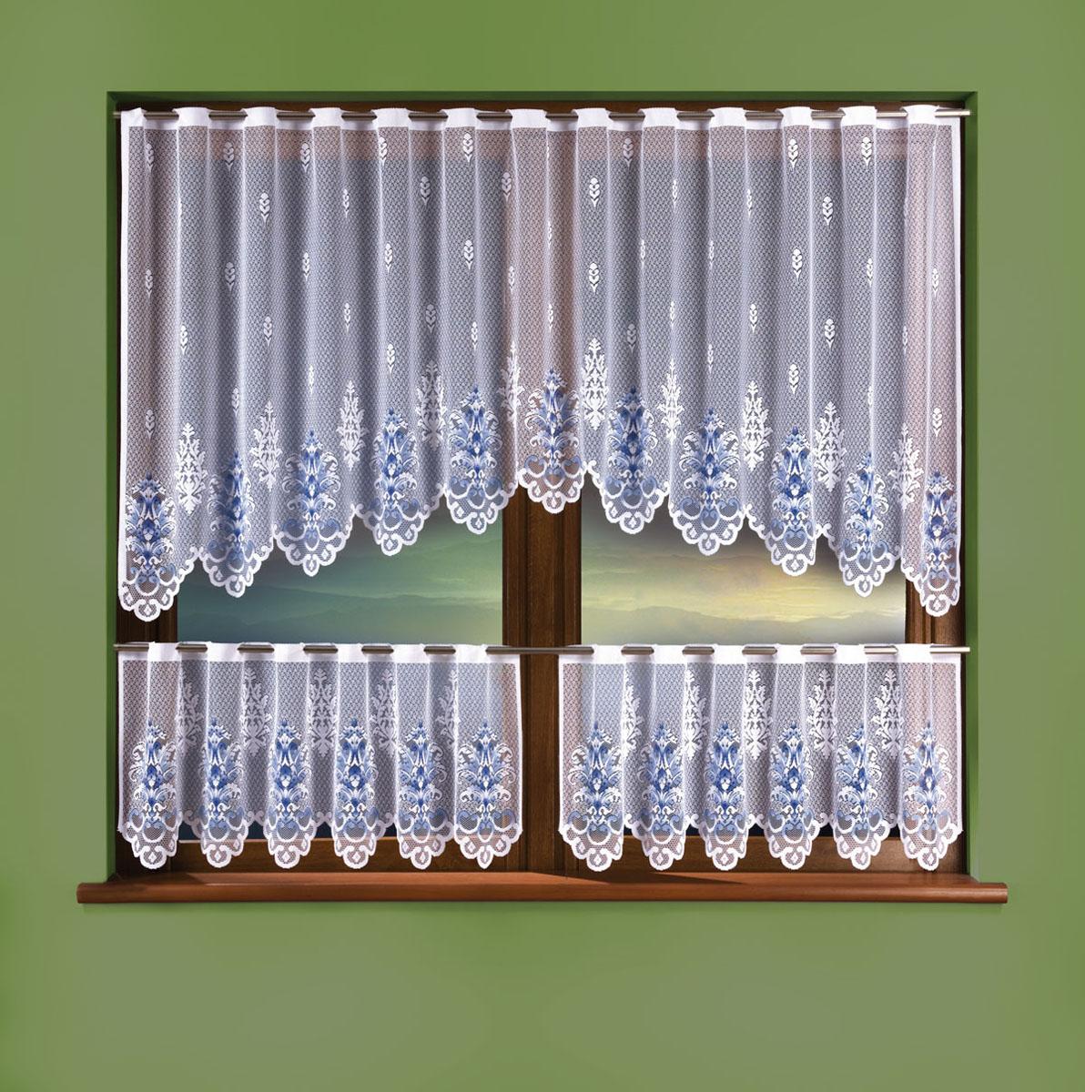 Комплект штор Wisan, цвет: белый, высота 50 см88838Комплект штор для кухни, крепление зажимы для штор.Размеры: 240*90+ (130*50)*2
