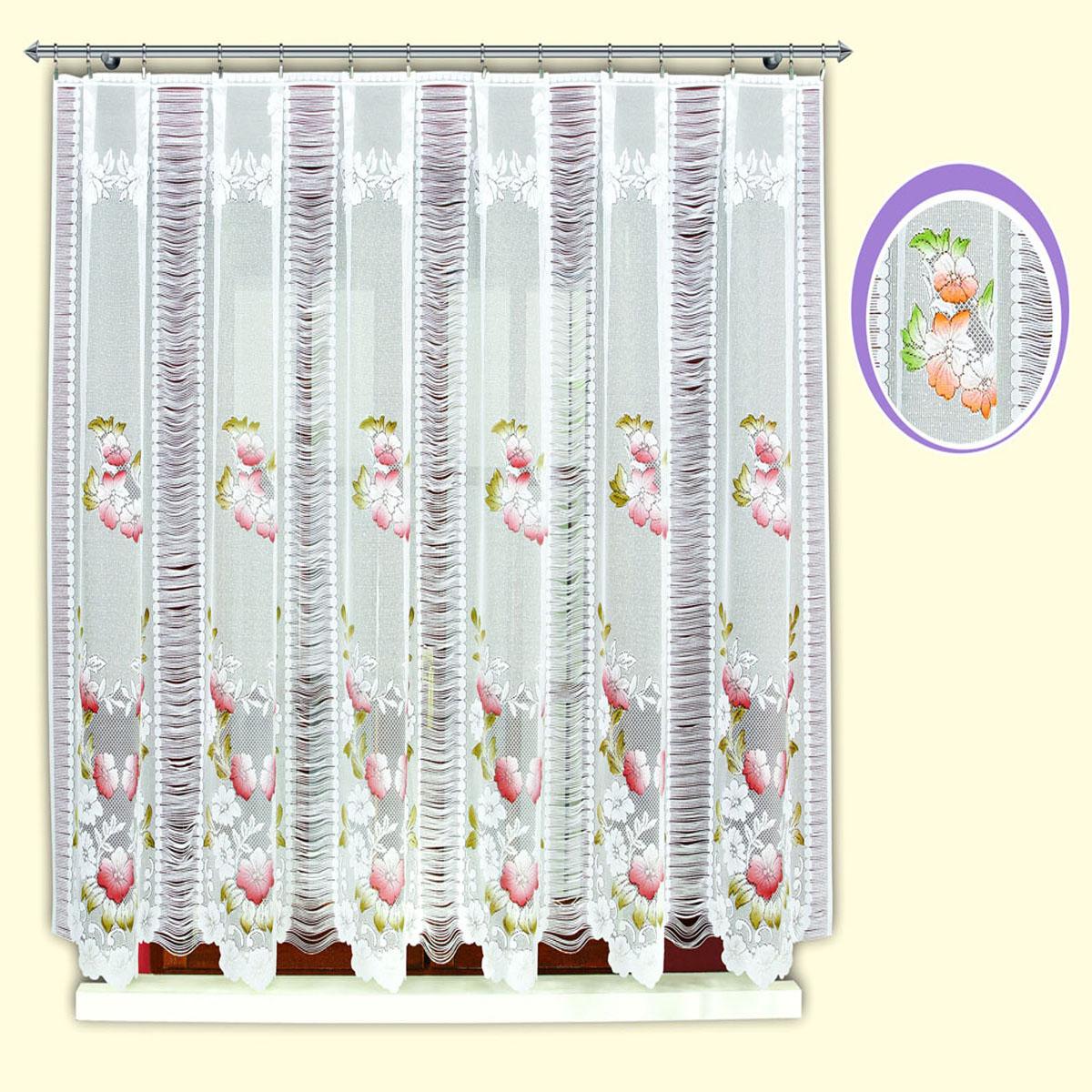 Гардина Haft, цвет: бордо, ширина 300 см, высота 150 см. 42120/150532АЖаккардовая гардина в кухню белого цвета с цветным рисунком бордовых цветов и нитяным чередующимся компонентомРазмеры: высота 150см*ширина 300см