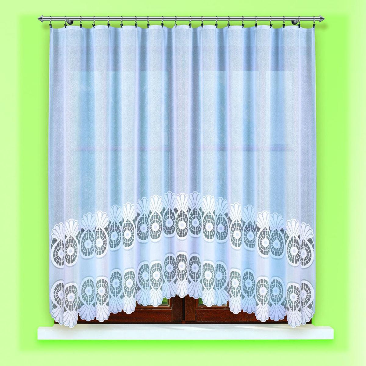 Гардина Haft, цвет: белый, ширина 300 см, высота 150 см. 46960/15004398-ШП-ГБ-001жаккардовая гардидна в кухню белого цветаРазмеры: высота150см*ширина 300см