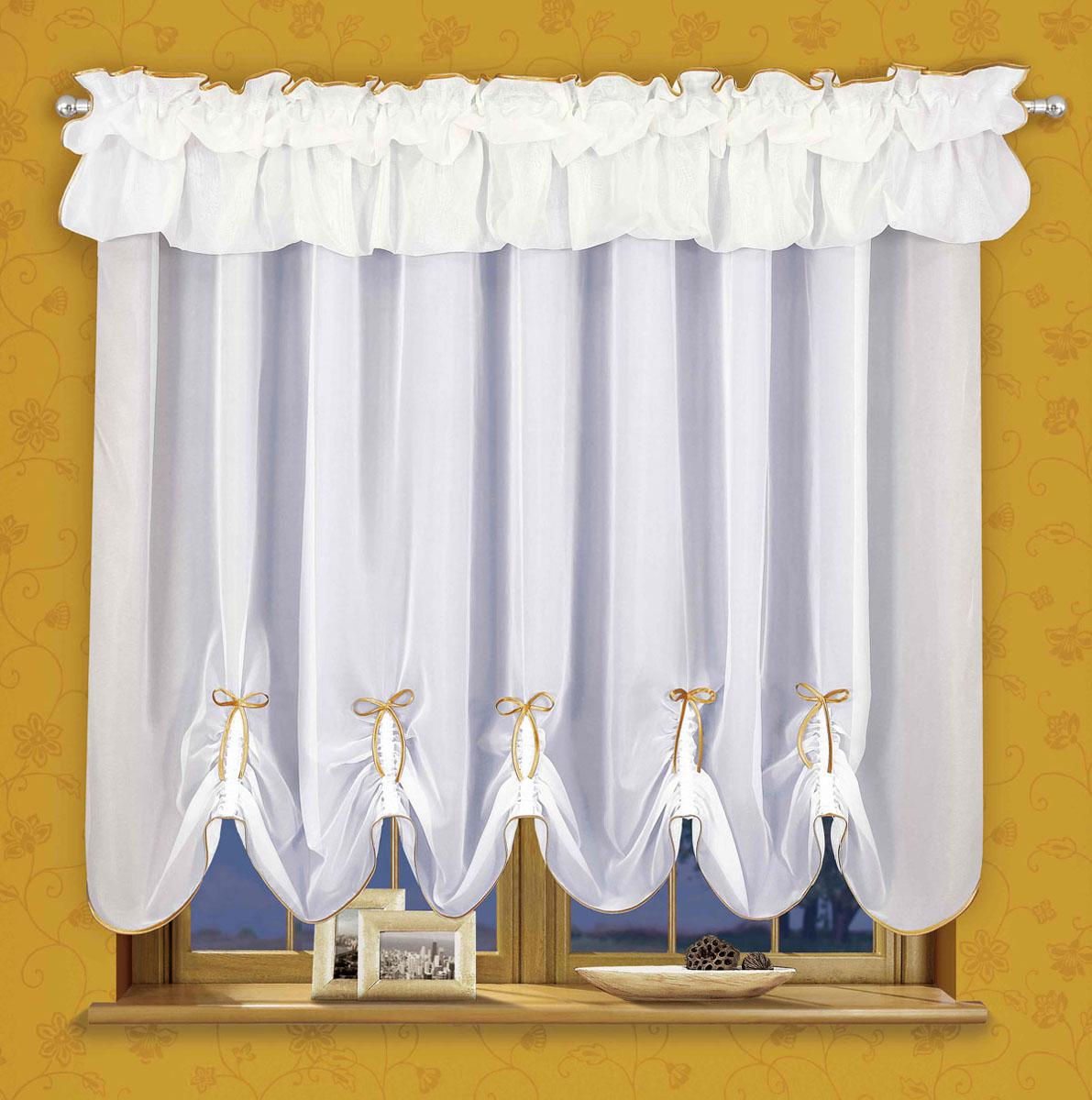 Гардина Wisan, цвет: белый, ширина 170 см, высота 150 смS03301004Штора белого цвета с фалдами.Размеры: ширина 170*выс.150