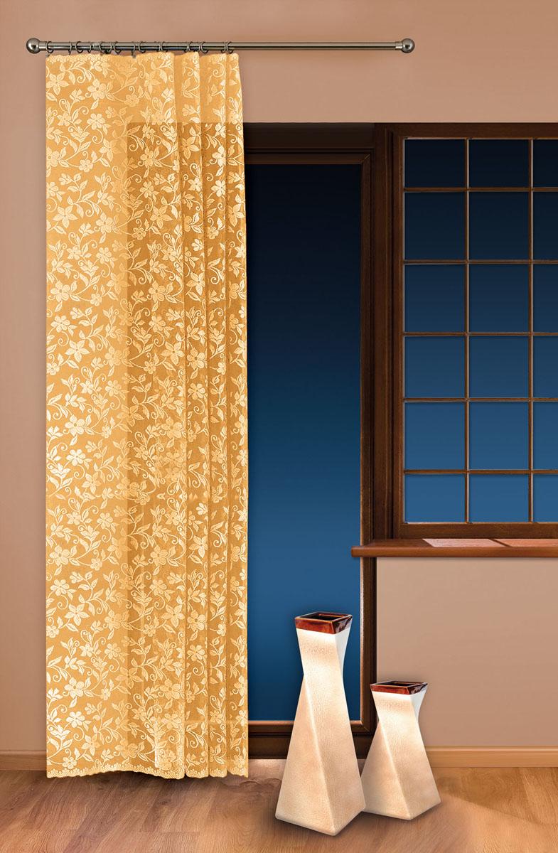 Гардина-тюль Wisan, на ленте, цвет: желтый, высота 250 см. 5924GC013/00Жаккардовая гардина-тюль Wisan, выполненная из легкого полиэстера, станет великолепным украшением окна в спальне или гостиной. Изделие дополнено красивыми узорами по всей поверхности полотна. Качественный материал, изысканная цветовая гамма и оригинальный дизайн привлекут к себе внимание и позволят гардине органично вписаться в интерьер помещения. Гардина оснащена шторной лентой для крепления на карниз. Отлично подходит по размеру под балконный блок на прилегающее окно.