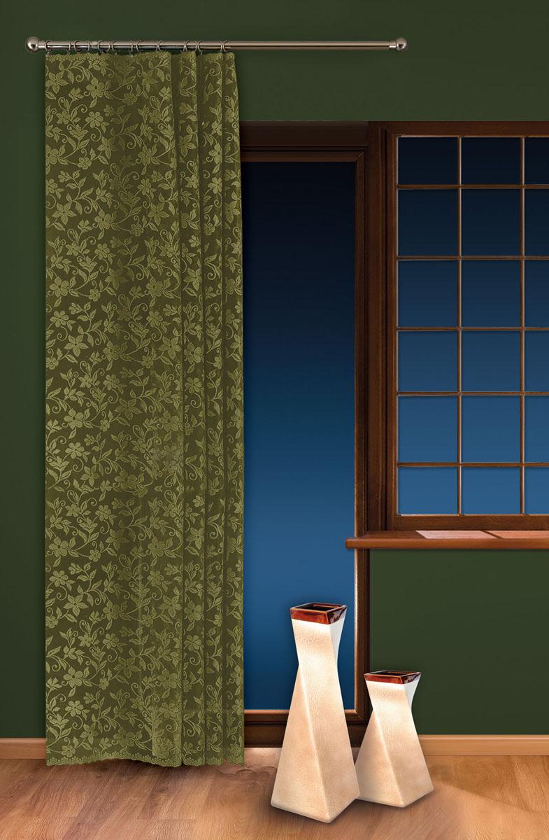 Гардина-тюль Wisan, на ленте, цвет: зеленый, высота 250 см. 5924GC013/00Жаккардовая гардина-тюль Wisan, выполненная из легкого полиэстера, станет великолепным украшением окна в спальне или гостиной. Изделие дополнено красивыми узорами по всей поверхности полотна. Качественный материал, изысканная цветовая гамма и оригинальный дизайн привлекут к себе внимание и позволят гардине органично вписаться в интерьер помещения. Гардина оснащена шторной лентой для крепления на карниз. Отлично подходит по размеру под балконный блок на прилегающее окно.