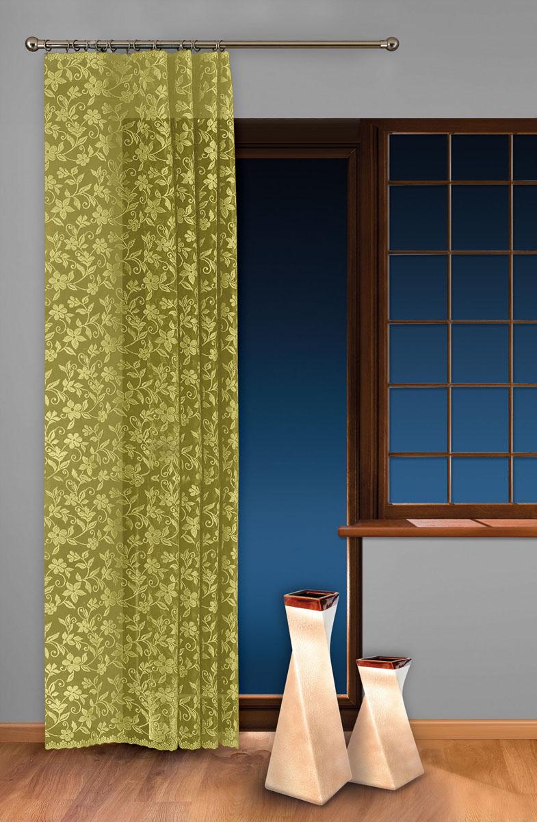 Гардина-тюль Wisan, на ленте, цвет: салатовый, высота 250 см. 5924S03301004Жаккардовая гардина-тюль Wisan, выполненная из легкого полиэстера, станет великолепным украшением окна в спальне или гостиной. Изделие дополнено красивыми узорами по всей поверхности полотна. Качественный материал, изысканная цветовая гамма и оригинальный дизайн привлекут к себе внимание и позволят гардине органично вписаться в интерьер помещения. Гардина оснащена шторной лентой для крепления на карниз. Отлично подходит по размеру под балконный блок на прилегающее окно.