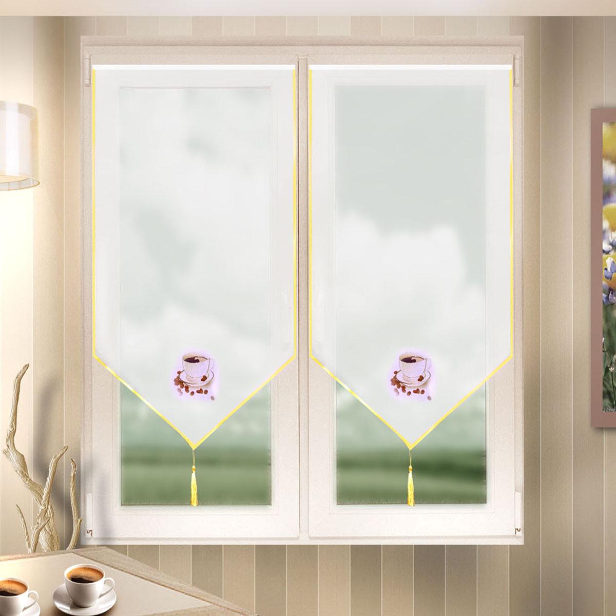 Гардина Zlata Korunka, цвет: белый, ширина 60 см, высота 140 см. 666023K100Лучшая альтернатива рулонным шторам на кухне – шторы на липкой ленте. Особенность этих штор заключается в том, что они имеют липкую основу в месте крепления . Лента или основа надежно и быстро крепится на раму окна, а на нее фиксируется сама штора.Размеры: ширина 60* высота 140