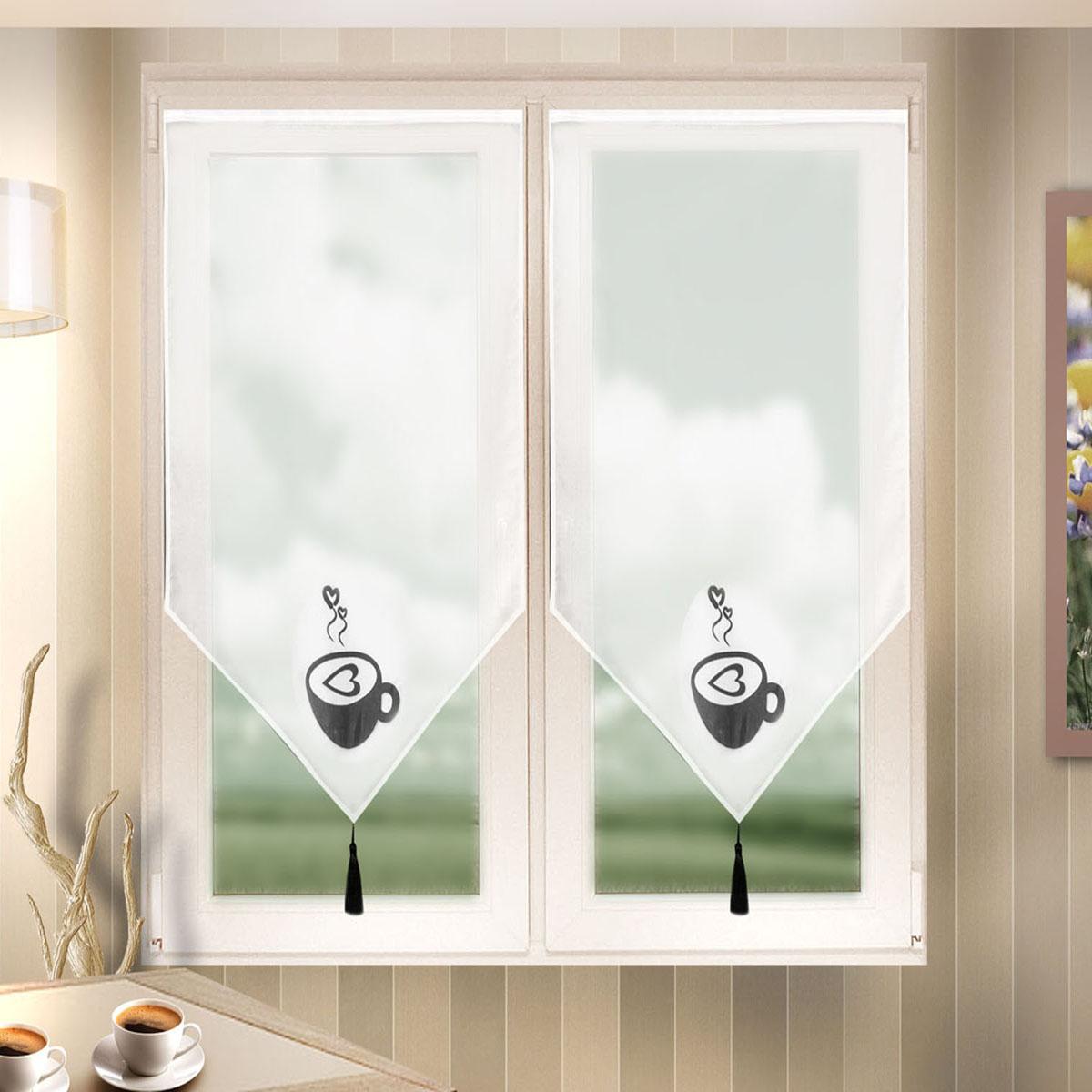 Гардина Zlata Korunka, цвет: белый, ширина 60 см, высота 90 см. 666024/21985140/430Лучшая альтернатива рулонным шторам на кухне – шторы на липкой ленте. Особенность этих штор заключается в том, что они имеют липкую основу в месте крепления . Лента или основа надежно и быстро крепится на раму окна, а на нее фиксируется сама штора.Размеры: ширина 60* высота 90