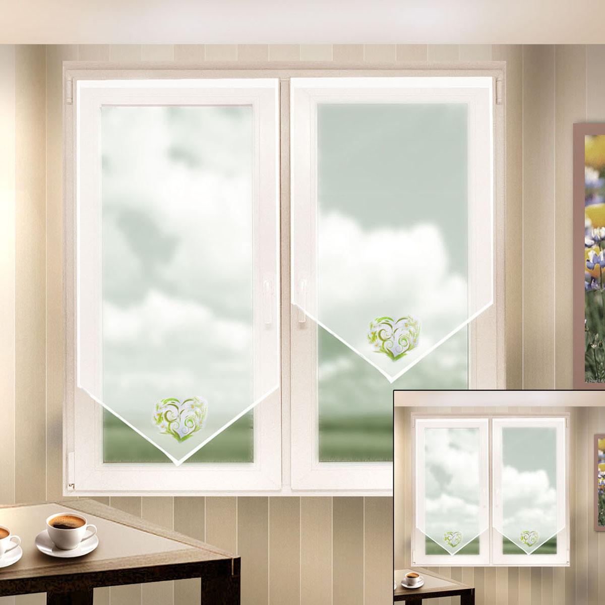 Гардина Zlata Korunka, на липкой ленте, цвет: белый, высота 90 см. 666052-2K100Гардина на липкой ленте Zlata Korunka, изготовленная из полиэстера, станет великолепным украшением любого окна. Полотно из белой вуали с печатным рисунком привлечет к себе внимание и органично впишется в интерьер комнаты. Лучшая альтернатива рулонным шторам - шторы на липкой ленте. Особенность этих штор заключается в том, что они имеют липкую основу в месте крепления. Лента или основа надежно и быстро крепится на раму окна, а на нее фиксируется сама штора.