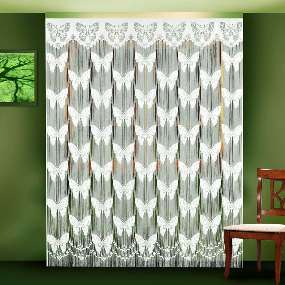 Гардина-лапша Zlata Korunka, цвет: белый, высота 250 см. 88801SVC-300Гардина-лапша Zlata Korunka, изготовленная из полиэстера кремового цвета, станет великолепным украшением окна или дверного проема. Гардина выполнена из тонкой бахромы и декорирована вставками в виде ажурных бабочек. Тонкое плетение, необычный дизайн и нежная цветовая гамма привлекут внимание и органично впишутся в интерьер помещения. Верхняя часть гардины не оснащена креплениями.