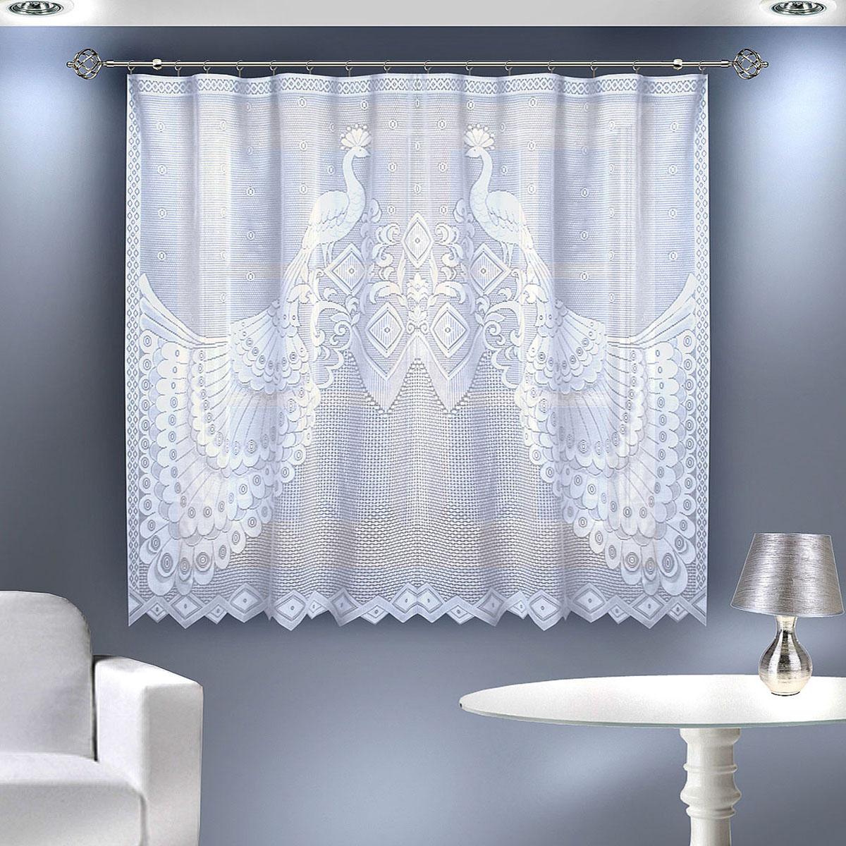 Гардина Zlata Korunka, цвет: белый, ширина 200 см, высота 145 см55561Гардина из тюле-кружевного полотна, крепление через прорези,сделанные в верхней части или на зажим для штор. Размеры: 200*145