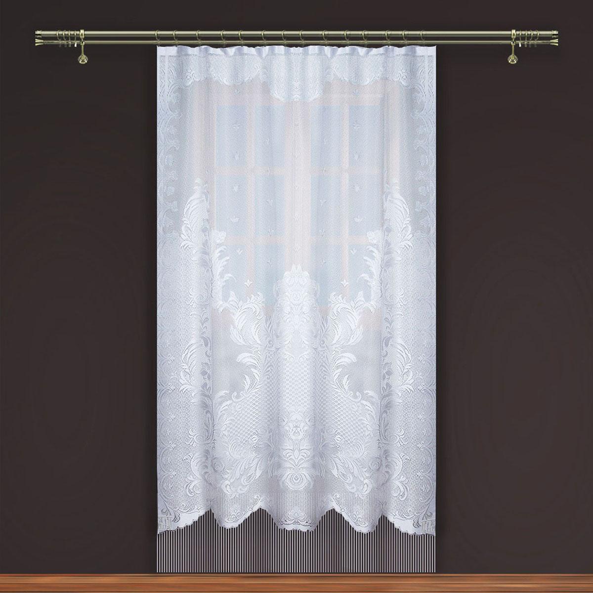 Гардина Zlata Korunka, на зажимах, цвет: белый, высота 250 см. 8886677626Гардина Zlata Korunka, изготовленная из высококачественного полиэстера, станет великолепным украшением любого окна. Изящный узор и тюле-кружевная текстура полотна привлекут к себе внимание и органично впишутся в интерьер комнаты. Оригинальное оформление гардины внесет разнообразие и подарит заряд положительного настроения.Крепится на зажимах для штор.