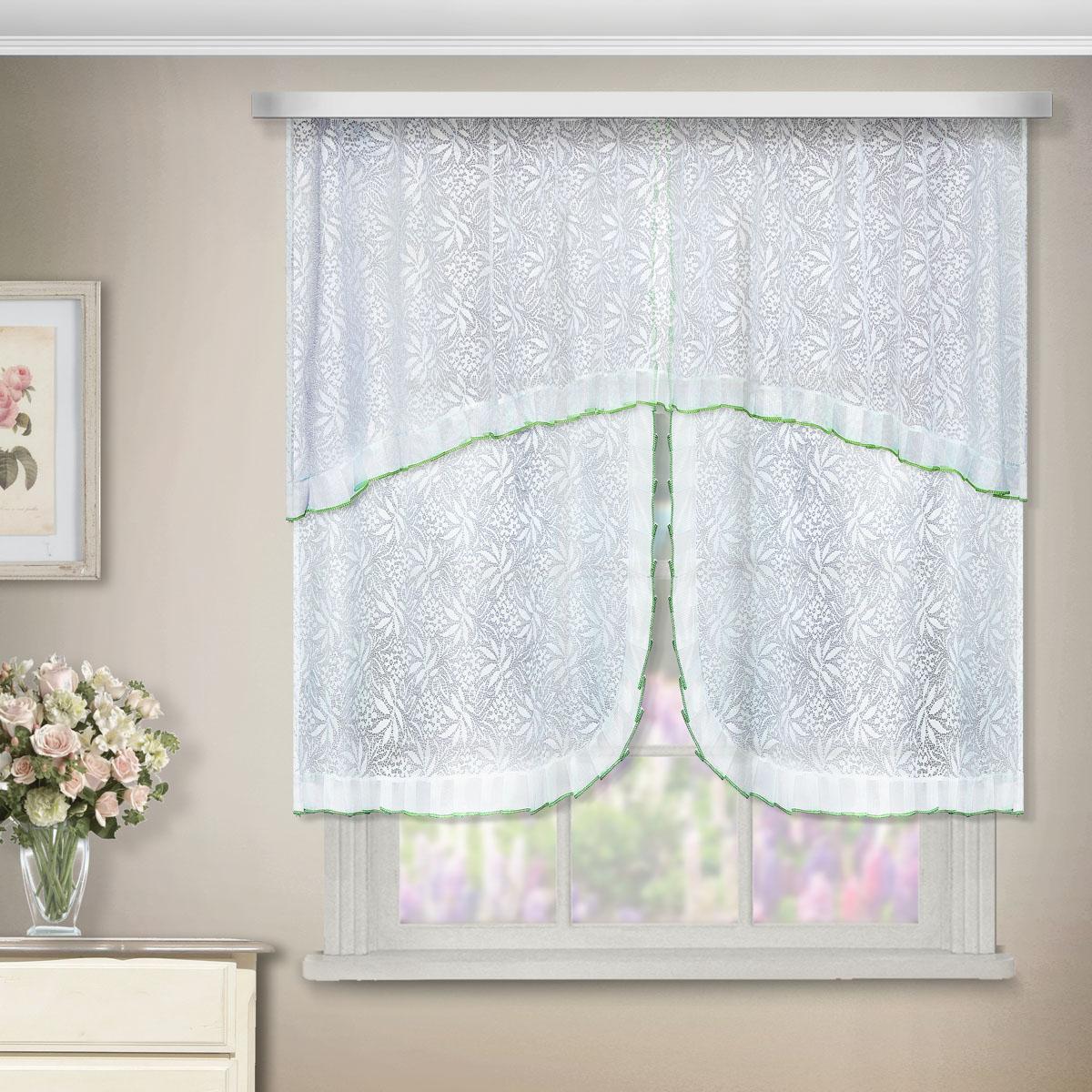 Комплект штор Zlata Korunka, на ленте, цвет: белый, высота 95 см. 88880SVC-300Комплект штор Zlata Korunka, выполненный из полиэстера, великолепно украсит любое окно. Комплект состоит из ламбрекена, двух штор и двух подхватов. Цветочный узор и воздушная текстура привлекут к себе внимание и органично впишутся в интерьер помещения. Этот комплект будет долгое время радовать вас и вашу семью!Комплект крепится на карниз при помощи ленты, которая поможет красиво и равномерно задрапировать верх. В комплект входит: Ламбрекен: 1 шт. Размер (Ш х В): 200 см х 65 см. Штора: 2 шт. Размер (Ш х В): 75 см х 95 см.Подхват: 2 шт.
