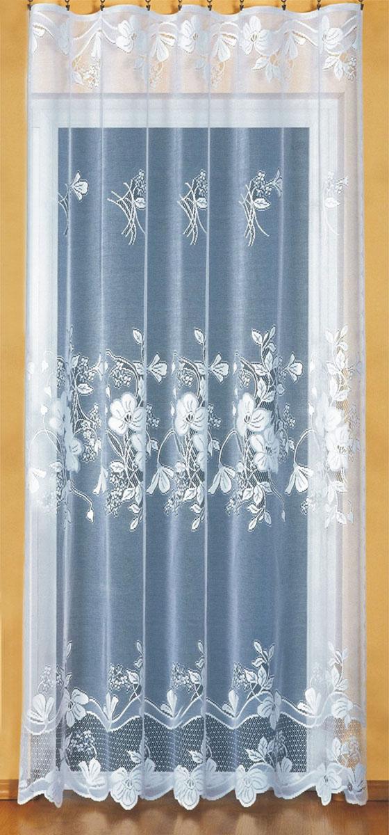 Гардина Wisan, на ленте, цвет: белый, высота 250 см. 9162CLP446Жаккардовая гардина Wisan, выполненная из легкого полупрозрачного полиэстера, станет великолепным украшением окна в спальне или гостиной. Отлично подходит по размеру под балконный блок на прилегающее окно. Изделие дополнено красивым цветочным узором по всей поверхности полотна. Качественный материал, тонкое плетение и оригинальный дизайн привлекут к себе внимание и позволят гардине органично вписаться в интерьер помещения. Гардина оснащена шторной лентой для крепления на карниз.