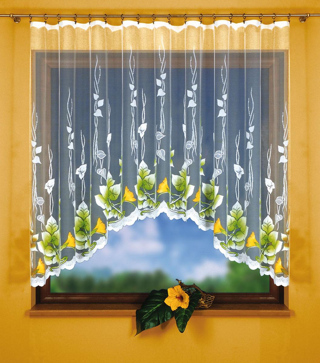 Штора для кухни Wisan, на ленте, цвет: белый, желтый, зеленый, высота 150 см. 9243K100Штора Wisan, выполненная из легкого полупрозрачного полиэстера белого цвета, станет великолепным украшением кухонного окна. Изделие имеет ассиметричную длину и красивый яркий цветочный рисунок по краю. Качественный материал и оригинальный дизайн привлекут к себе внимание и позволят шторе органично вписаться в интерьер помещения. Штора оснащена шторной лентой под зажимы для крепления на карниз.