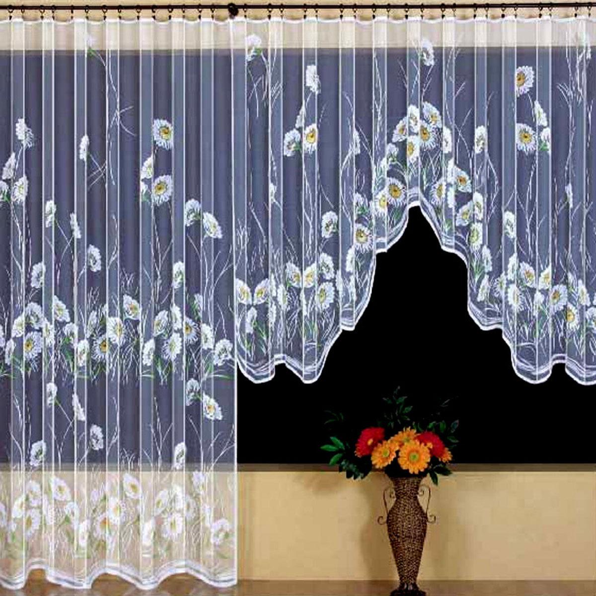 Гардина Wisan, цвет: белый, ширина 350 см, высота 160 см. 938155570вид крепления - под зажимы для шторРазмеры: ш.350* в.160