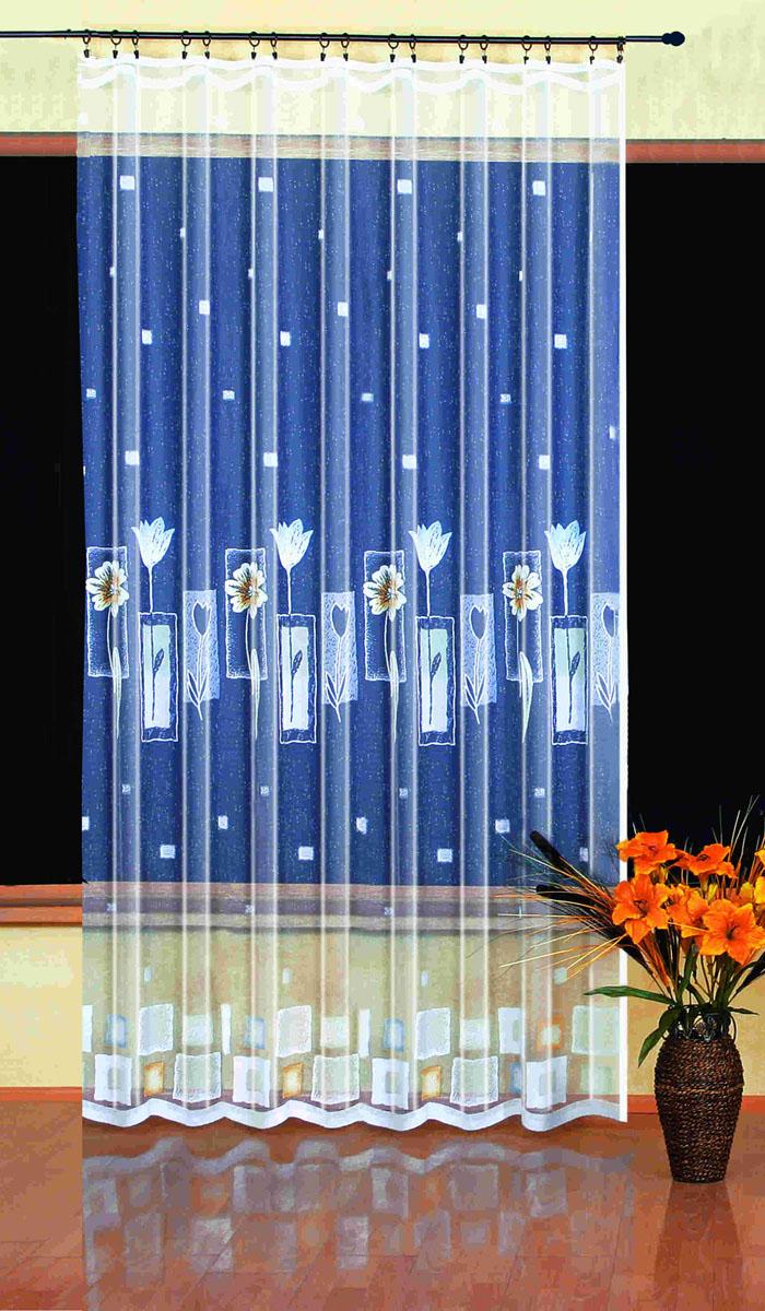 Гардина Wisan, цвет: белый, ширина 200 см, высота 250 см. 93902365вид крепления - под зажимы для шторРазмеры: 200*250