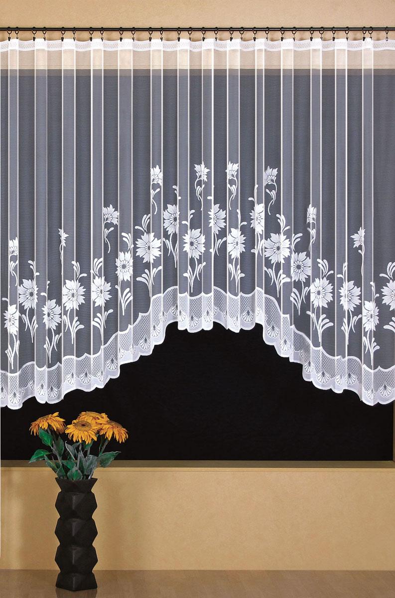 Штора для кухни Wisan, на ленте, цвет: белый, высота 170 см. 9392PANTERA SPX-2RSШтора Wisan, выполненная из легкого полупрозрачного полиэстера белого цвета, станет великолепным украшением кухонного окна. Изделие имеет ассиметричную длину и красивый цветочный рисунок по краю. Качественный материал и оригинальный дизайн привлекут к себе внимание и позволят шторе органично вписаться в интерьер помещения. Штора оснащена шторной лентой под зажимы для крепления на карниз.