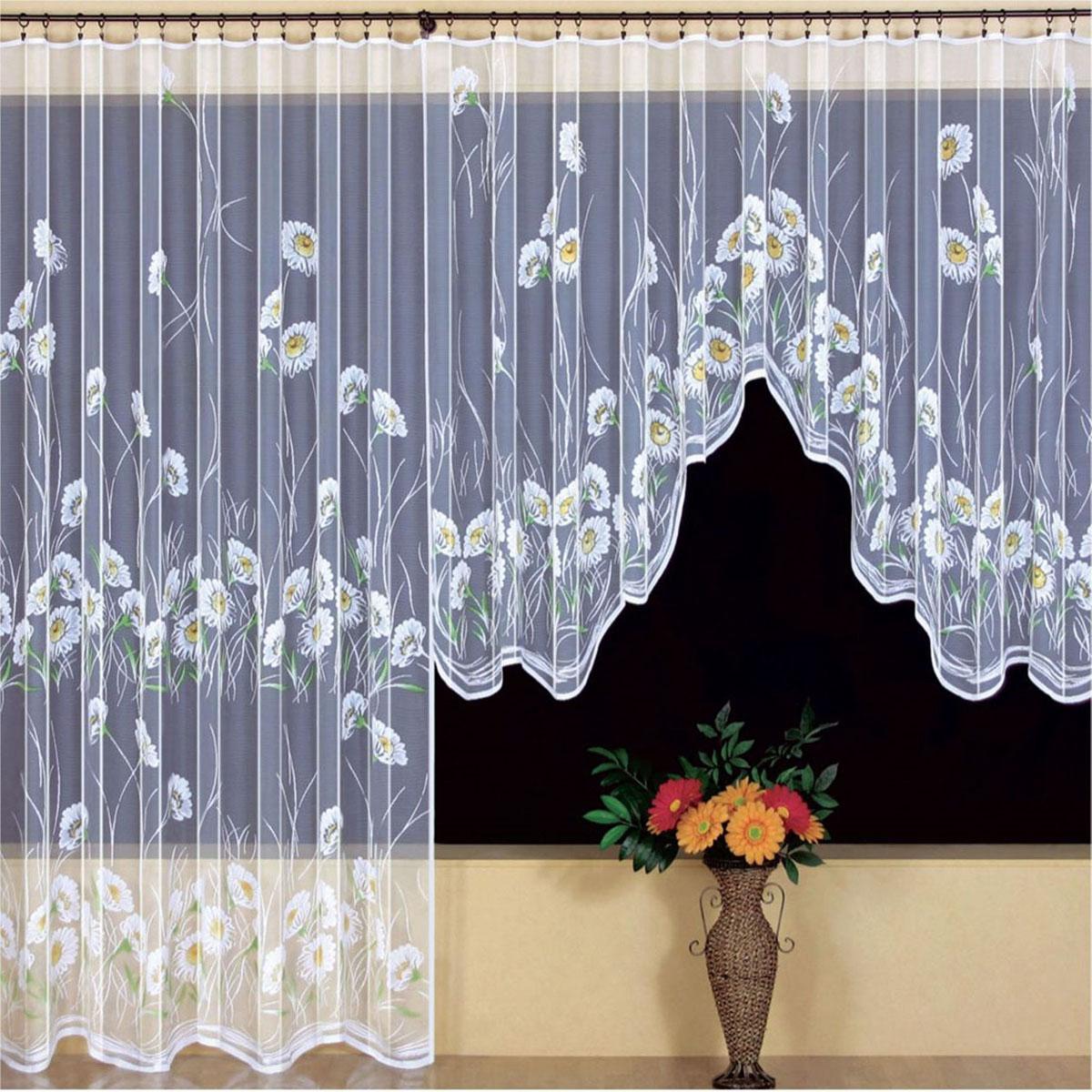 Гардина Wisan, на ленте, цвет: белый, высота 250 см. 9425VT-1840-BKГардина Wisan, выполненная из легкого полупрозрачного полиэстера, станет великолепным украшением окна в спальне или гостиной. Отлично подходит по размеру под балконный блок на прилегающее окно. Изделие дополнено красивым цветочным рисунком в виде ромашек по всей поверхности полотна. Качественный материал, тонкое плетение и оригинальный дизайн привлекут к себе внимание и позволят гардине органично вписаться в интерьер помещения. Гардина оснащена шторной лентой под зажимы для крепления на карниз. Уважаемые клиенты!Обращаем ваше внимание, что в комплект входит одна гардина. Фото с двумя гардинами, данное в интерьере, служит для визуального восприятия товара.