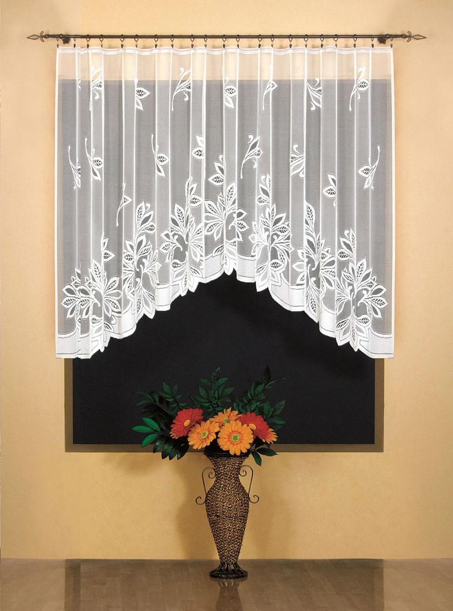 Штора для кухни Wisan, на ленте, цвет: белый, высота 150 см. 948519201Штора Wisan, выполненная из легкого полупрозрачного полиэстера белого цвета, станет великолепным украшением кухонного окна. Изделие имеет ассиметричную длину и красивые узоры по всей поверхности полотна. Качественный материал и оригинальный дизайн привлекут к себе внимание и позволят шторе органично вписаться в интерьер помещения. Штора оснащена шторной лентой под зажимы для крепления на карниз.