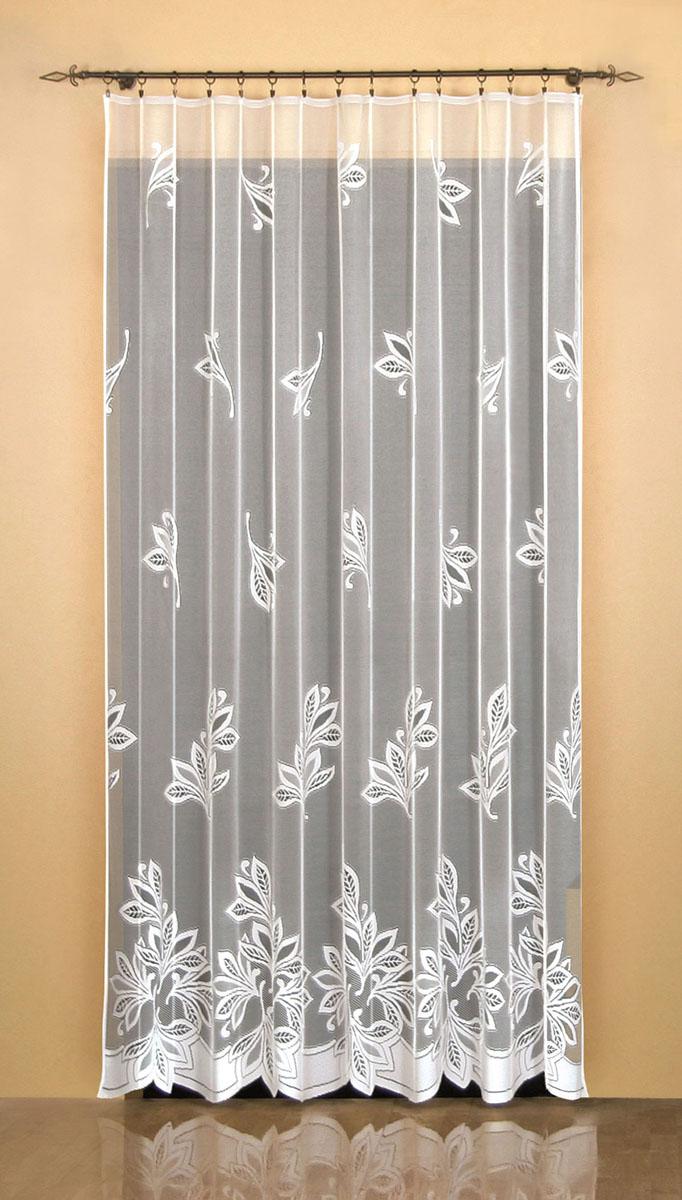 Гардина Wisan, на ленте, цвет: белый, высота 250 см. 948680663Жаккардовая гардина Wisan, выполненная из легкого полупрозрачного полиэстера, станет великолепным украшением окна в спальне или гостиной. Отлично подходит по размеру под балконный блок на прилегающее окно. Изделие дополнено красивым рисунком по всей поверхности полотна. Качественный материал, тонкое плетение и оригинальный дизайн привлекут к себе внимание и позволят гардине органично вписаться в интерьер помещения. Гардина оснащена шторной лентой под зажимы для крепления на карниз.