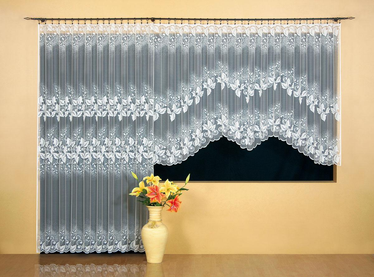 Гардина Wisan, цвет: белый, ширина 300 см, высота 150 см. 9510956251325Гардина жаккардовая, крепление зажимы для штор, можно взять в комплекте с арт. 9508Размеры: ширина 300*высота 150