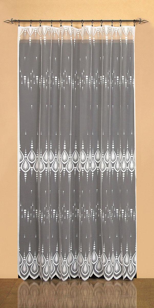 Гардина Wisan, цвет: белый, ширина 200 см, высота 250 см. 9521VCA-00вид крепления - под зажимы для шторРазмеры: ш.200* в.250