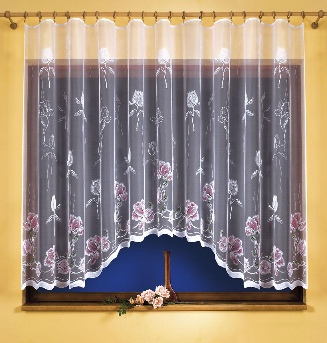 Штора для кухни Wisan, на ленте, цвет: белый, сиреневый, высота 180 см. 9533SVC-300Штора Wisan, выполненная из легкого полупрозрачного полиэстера белого цвета, станет великолепным украшением кухонного окна. Изделие имеет ассиметричную длину и красивый цветочный рисунок по всей поверхности полотна. Качественный материал и оригинальный дизайн привлекут к себе внимание и позволят шторе органично вписаться в интерьер помещения. Штора оснащена шторной лентой под зажимы для крепления на карниз.
