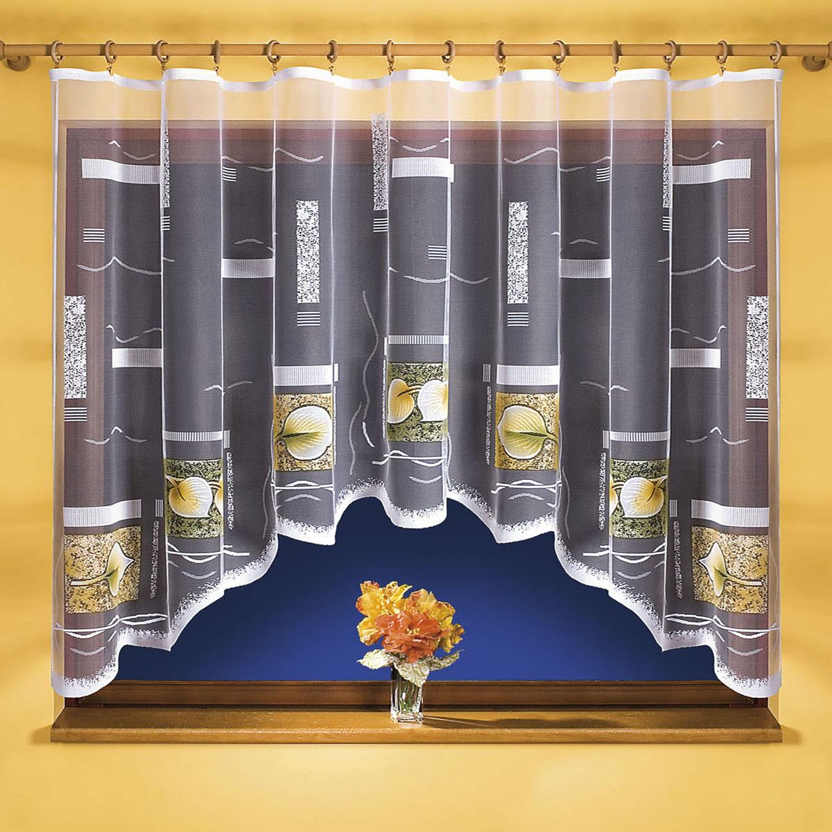 Штора для кухни Wisan, на ленте, цвет: белый, зеленый, высота 150 см. 96719671Штора Wisan, выполненная из легкого полупрозрачного полиэстера белого цвета, станет великолепным украшением кухонного окна. Изделие имеет ассиметричную длину и красивый рисунок с изображением листьев по краю. Качественный материал и оригинальный дизайн привлекут к себе внимание и позволят шторе органично вписаться в интерьер помещения. Штора оснащена шторной лентой под зажимы для крепления на карниз.