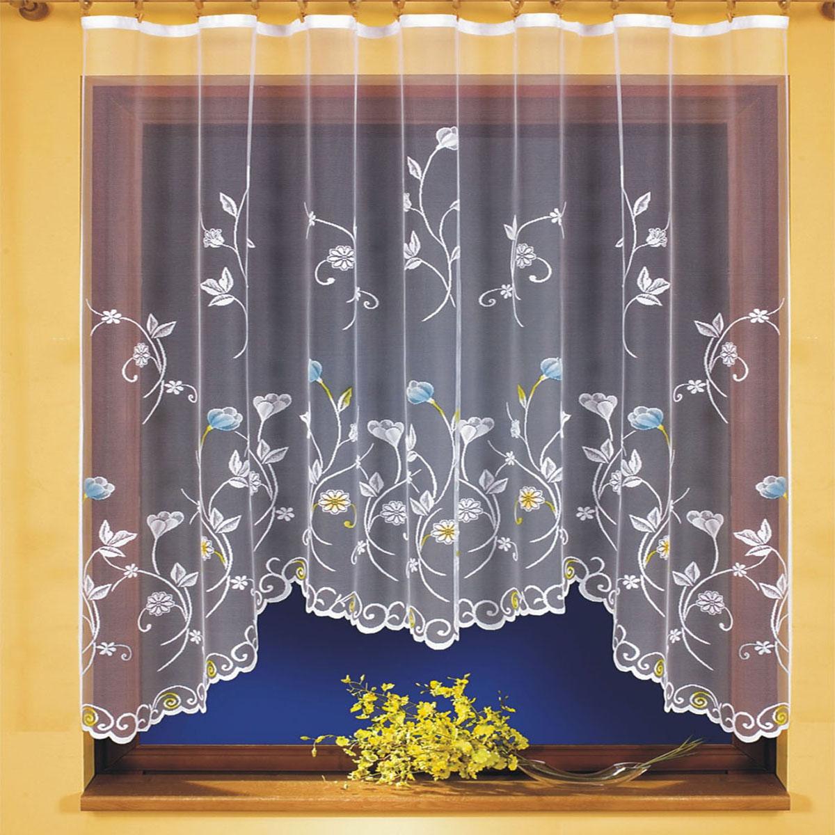 Штора для кухни Wisan, на ленте, цвет: белый, высота 160 см. 96989698Штора Wisan, выполненная из легкого полупрозрачного полиэстера белого цвета, станет великолепным украшением кухонного окна. Изделие имеет ассиметричную длину и красивый цветочный орнамент по всей поверхности полотна. Качественный материал и оригинальный дизайн привлекут к себе внимание и позволят шторе органично вписаться в интерьер помещения. Штора оснащена шторной лентой под зажимы для крепления на карниз.