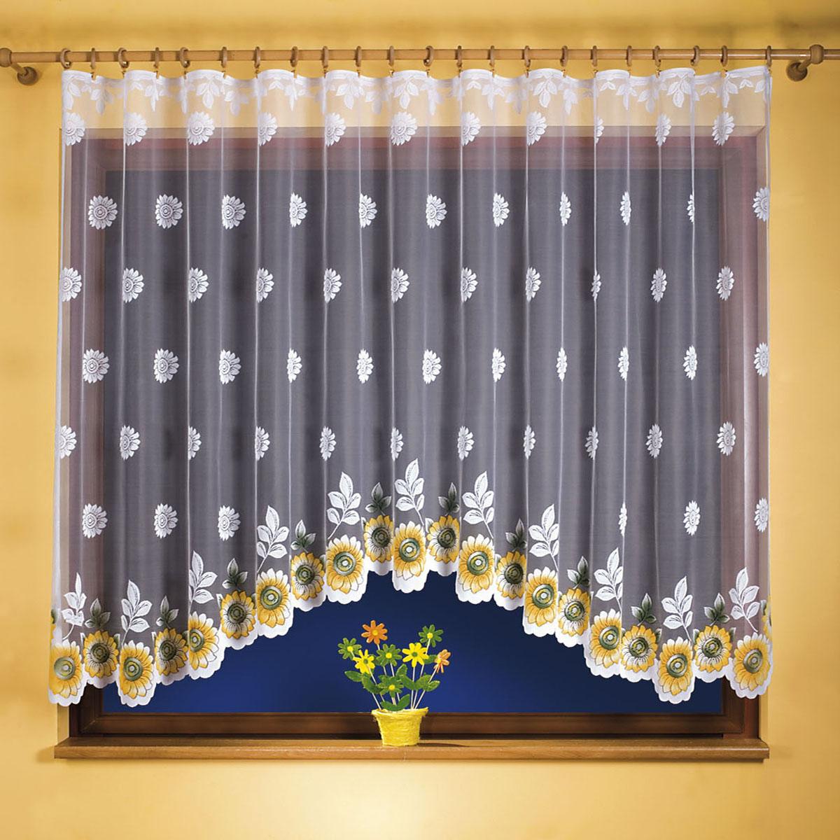 Штора для кухни Wisan, на ленте, цвет: белый, оранжевый, высота 120 см. 9769GC013/00Штора Wisan, выполненная из легкого полупрозрачного полиэстера белого цвета, станет великолепным украшением кухонного окна. Изделие имеет ассиметричную длину и красивый цветочный орнамент по всей поверхности полотна. Качественный материал и оригинальный дизайн привлекут к себе внимание и позволят шторе органично вписаться в интерьер помещения. Штора оснащена шторной лентой под зажимы для крепления на карниз.