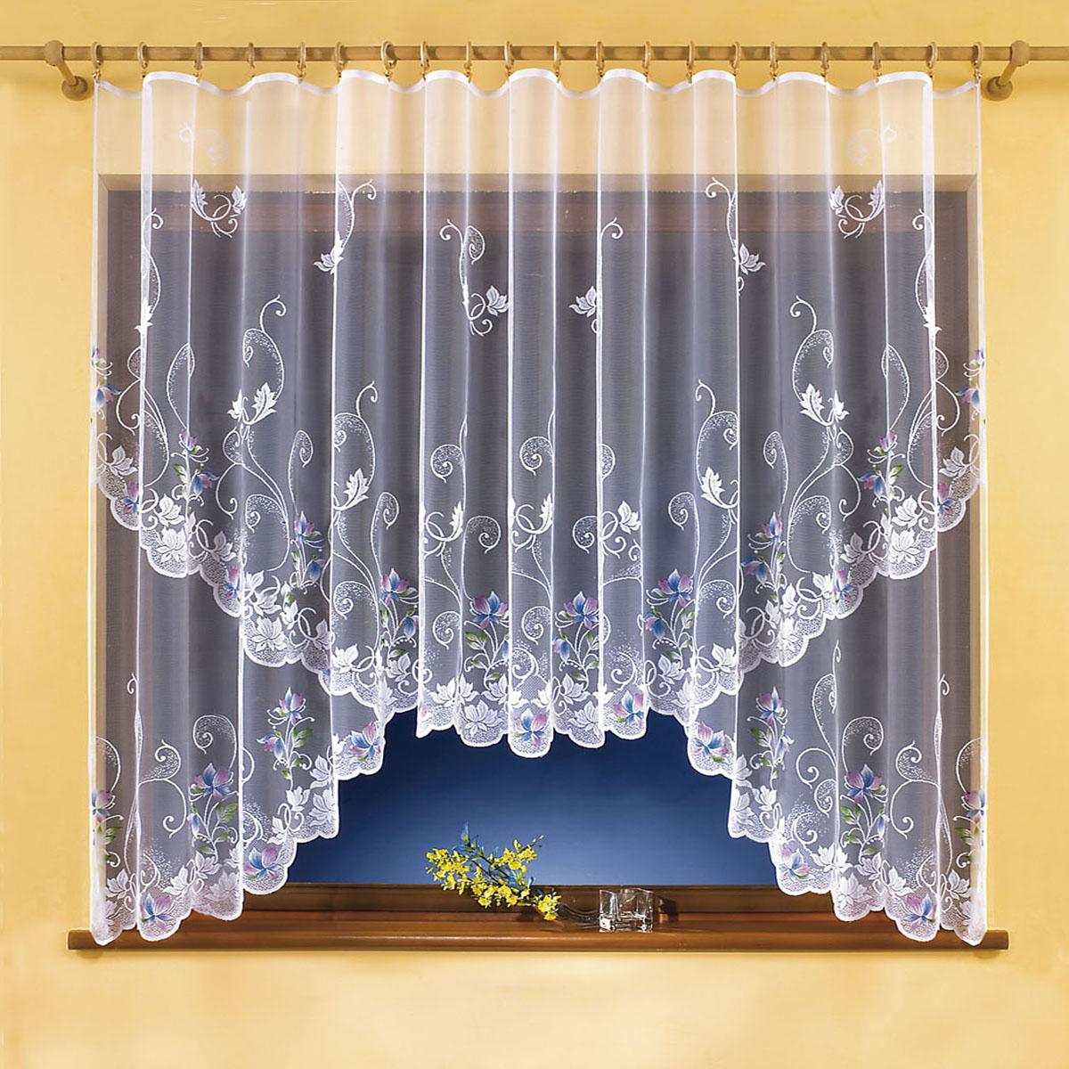 Штора для кухни Wisan, на ленте, цвет: белый, высота 150 см. 99619961Штора Wisan, выполненная из легкого полупрозрачного полиэстера белого цвета, станет великолепным украшением кухонного окна. Изделие имеет ассиметричную длину и красивый цветочный рисунок по всей поверхности полотна. Качественный материал и оригинальный дизайн привлекут к себе внимание и позволят шторе органично вписаться в интерьер помещения. Штора оснащена шторной лентой под зажимы для крепления на карниз.