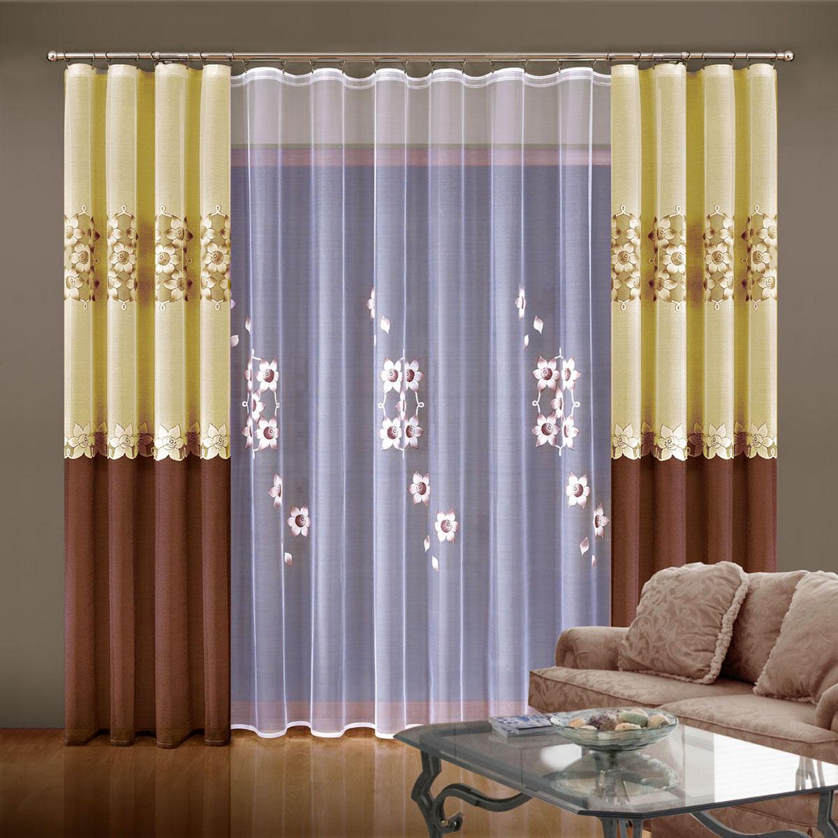 """Комплект штор """"Wisan"""", на ленте, цвет: коричневый, бежевый, белый, высота 250 см. 5929"""